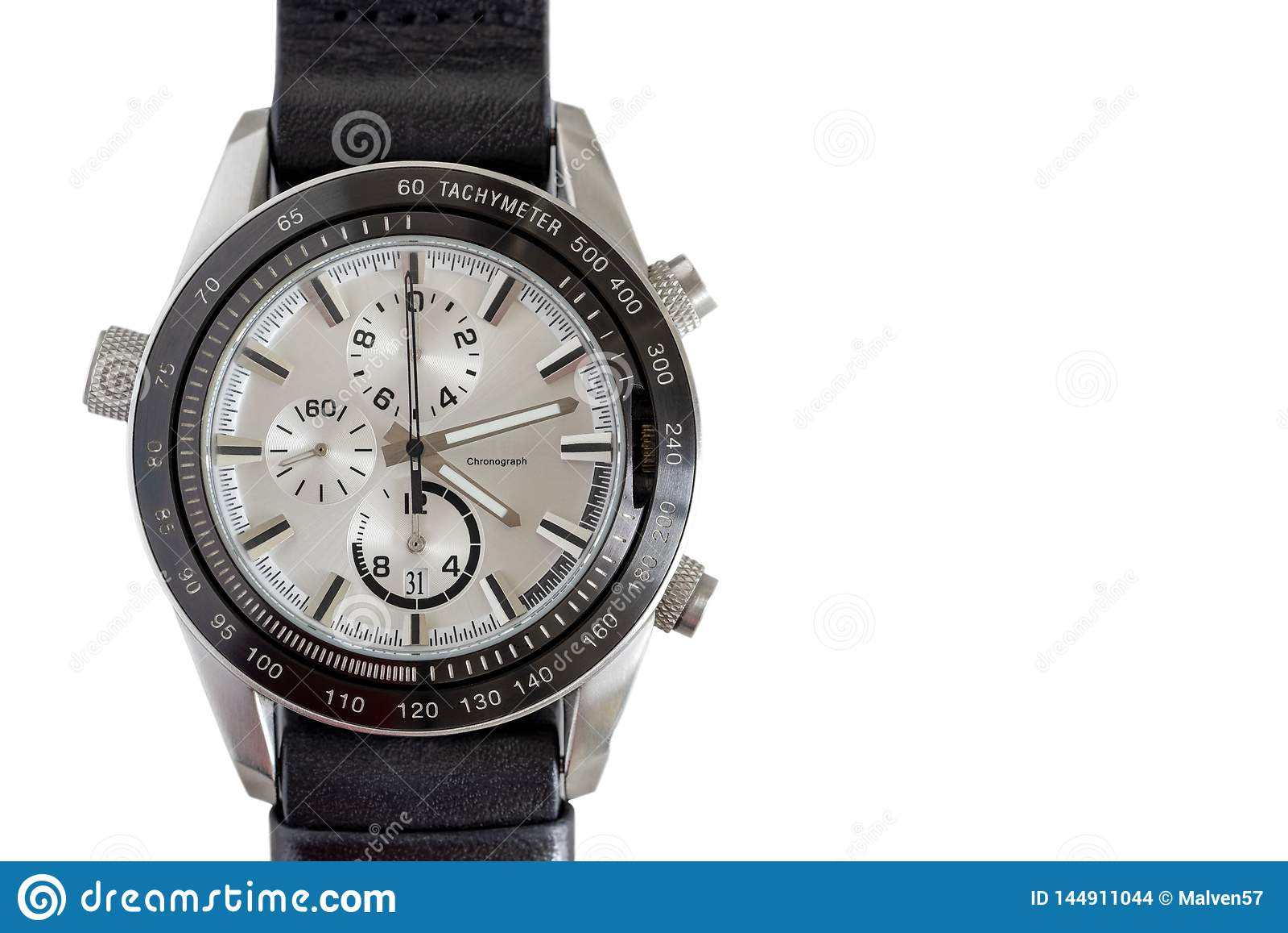 Fashionable wrist watch on a white background