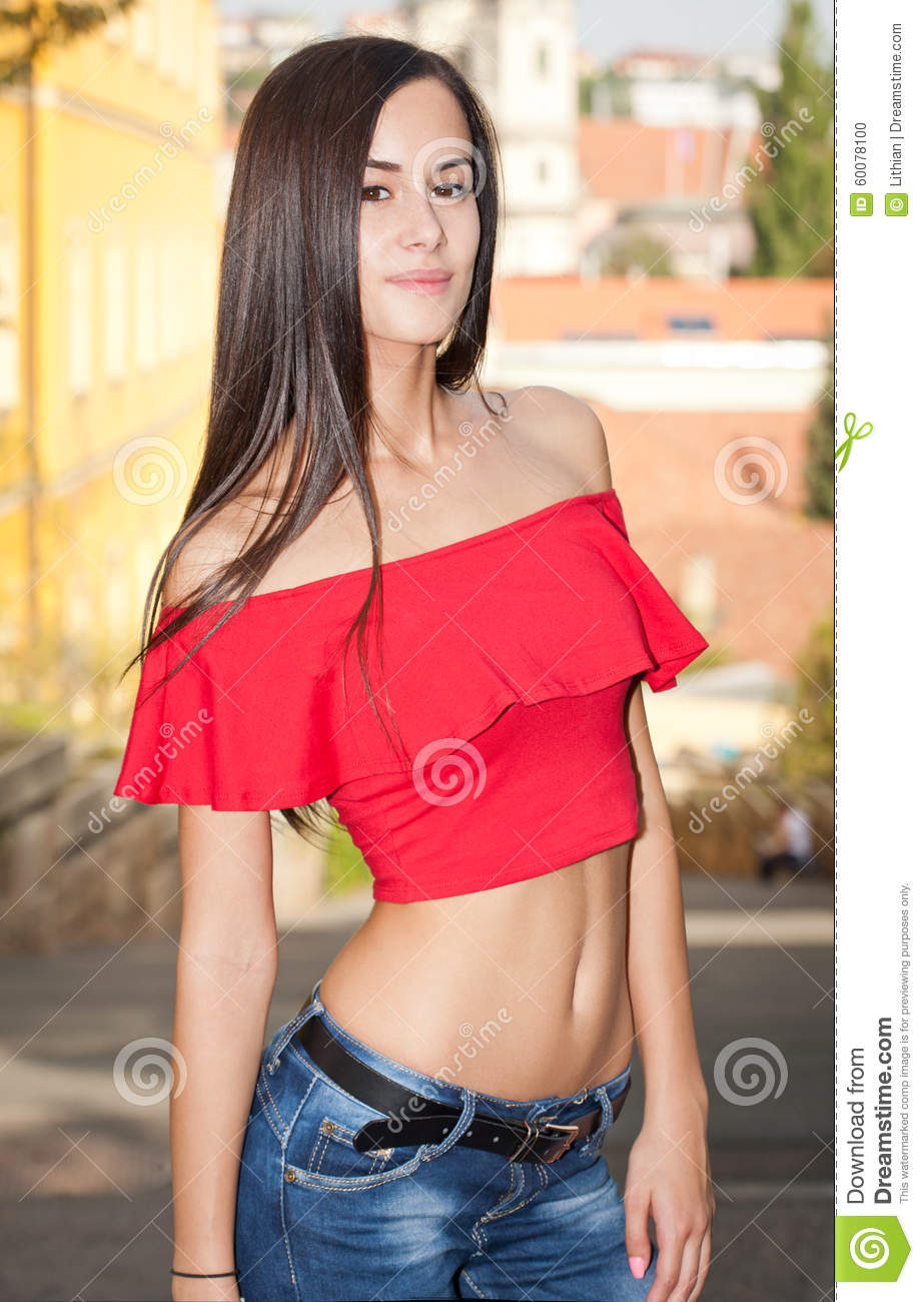 ac1bc645d94fe Fashionable Young Brunette Beauty. Stock Photo - Image of attractive ...