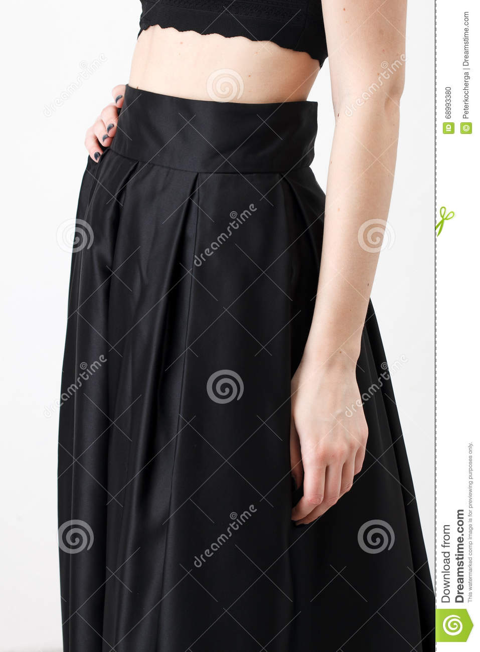 5b12935602 Fashionista In Black Shirt And Skirt Stock Photo - Image of clothing ...