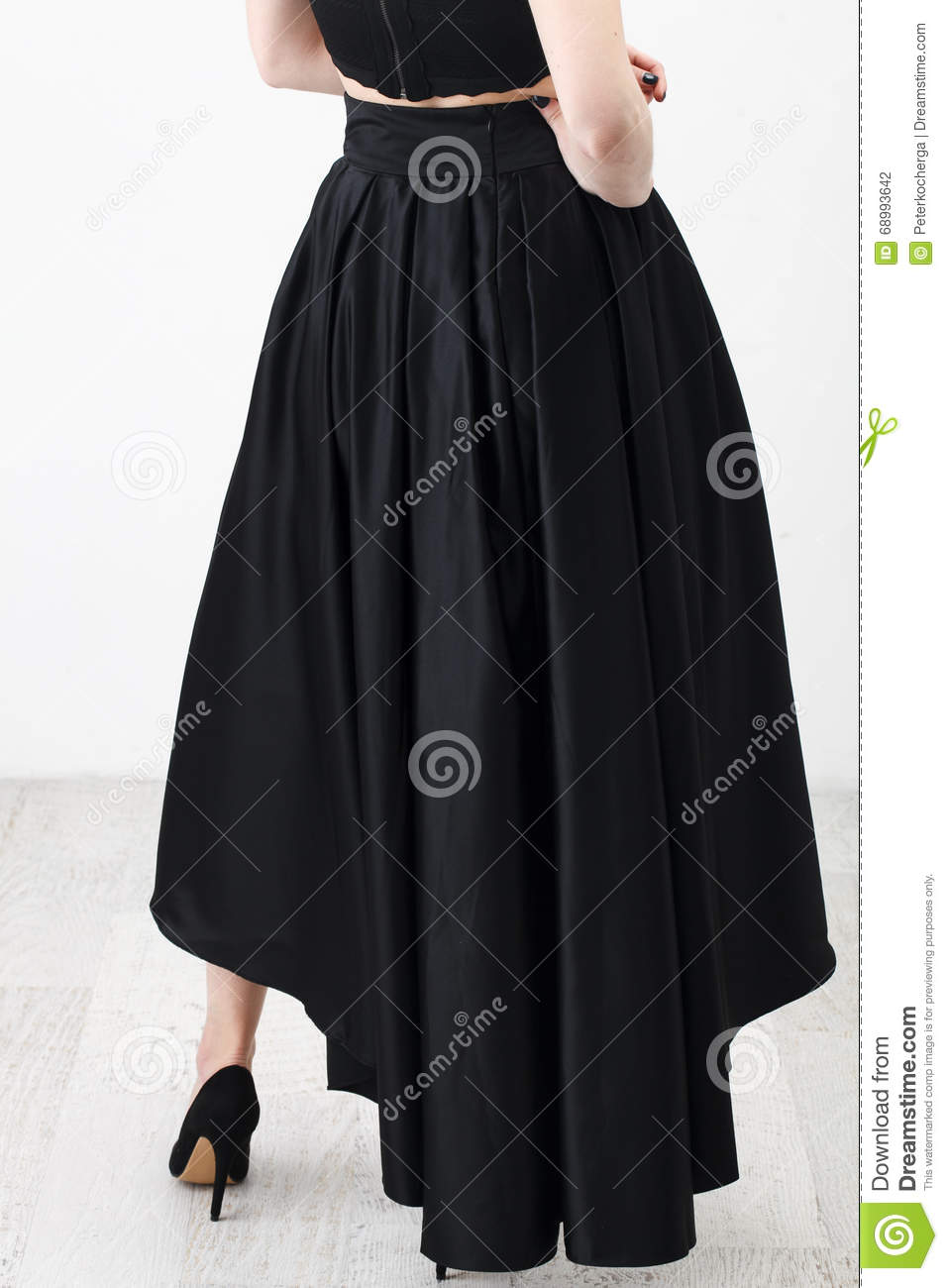 70a8b13aff Fashionista In Black Shirt And Skirt Stock Photo - Image of isolated ...