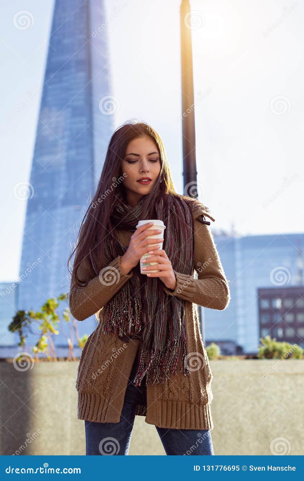Fashionista woman in outdoors London, UK