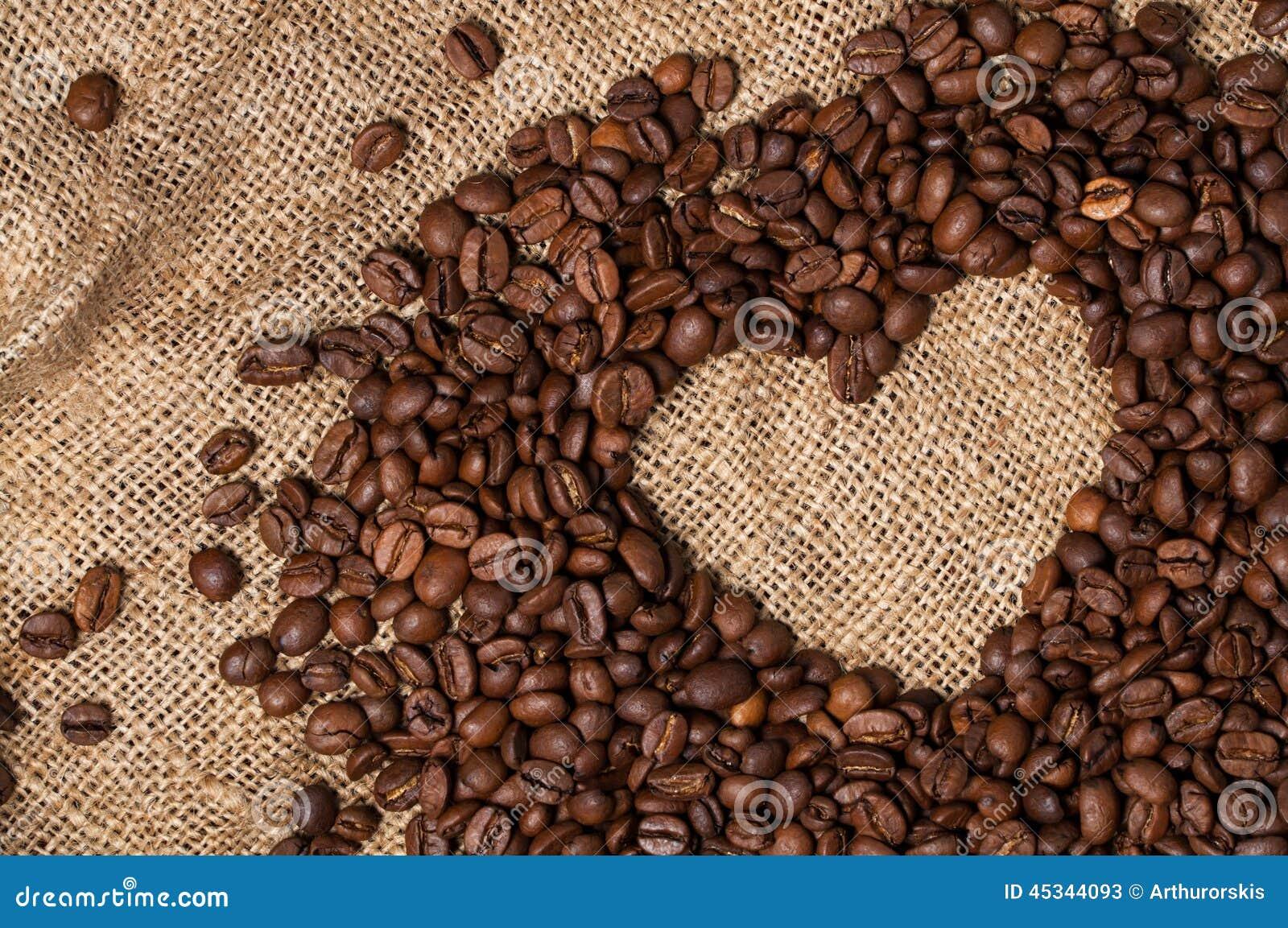 Fasoli kawowy serce odizolowywający przedmiot Zakończenie