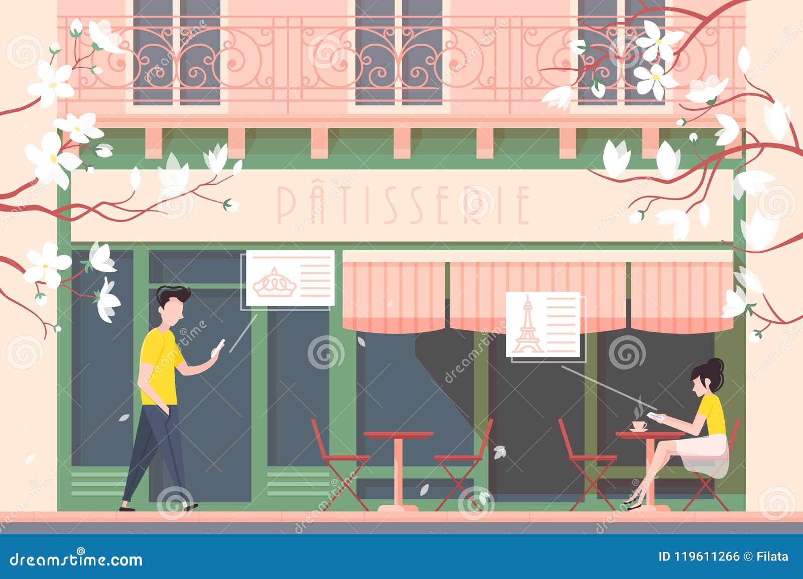 Fassade des Cafés oder der Cafeteria
