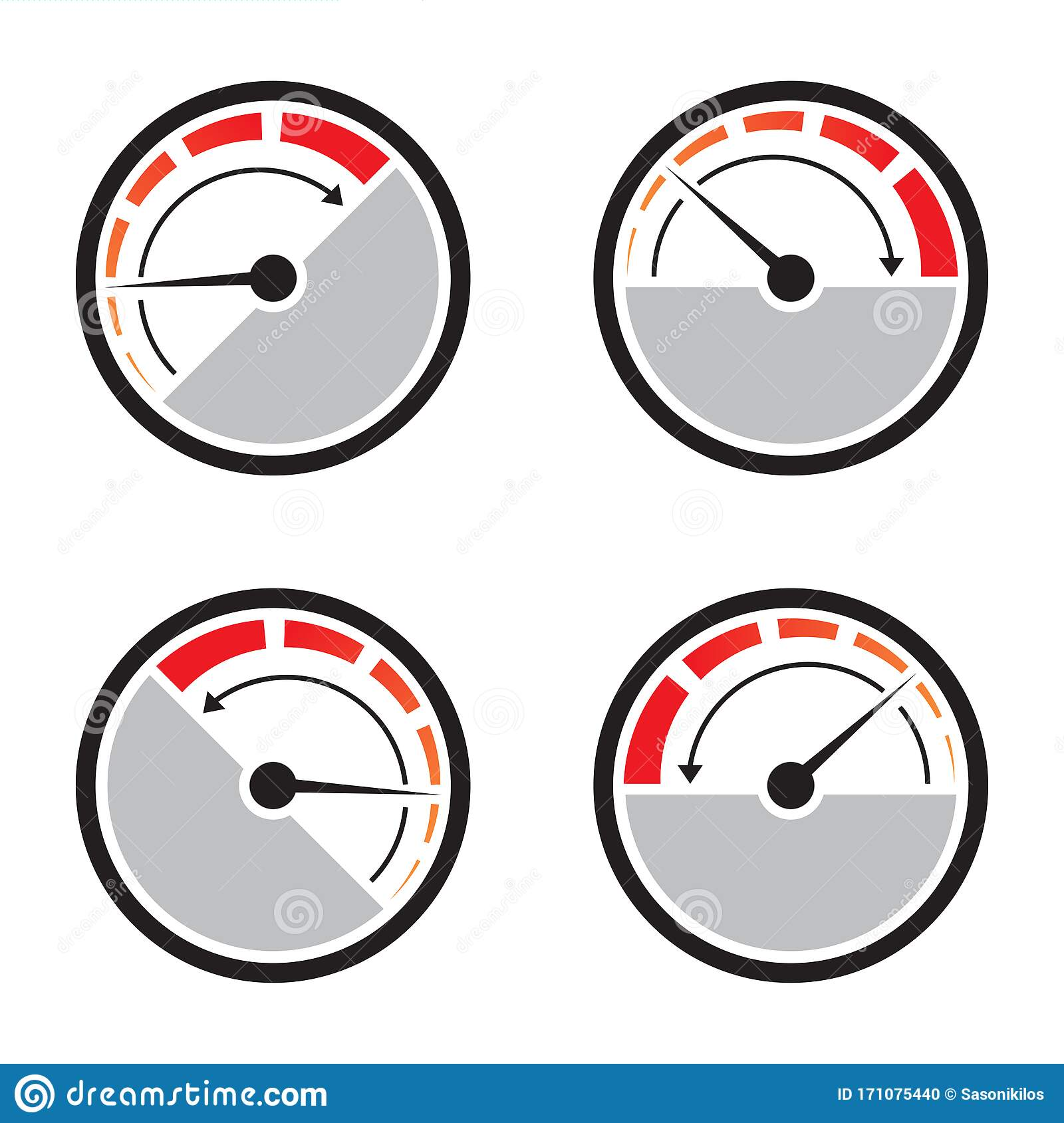 Fast Acceleration Speedometer Icon Isolated On White ...