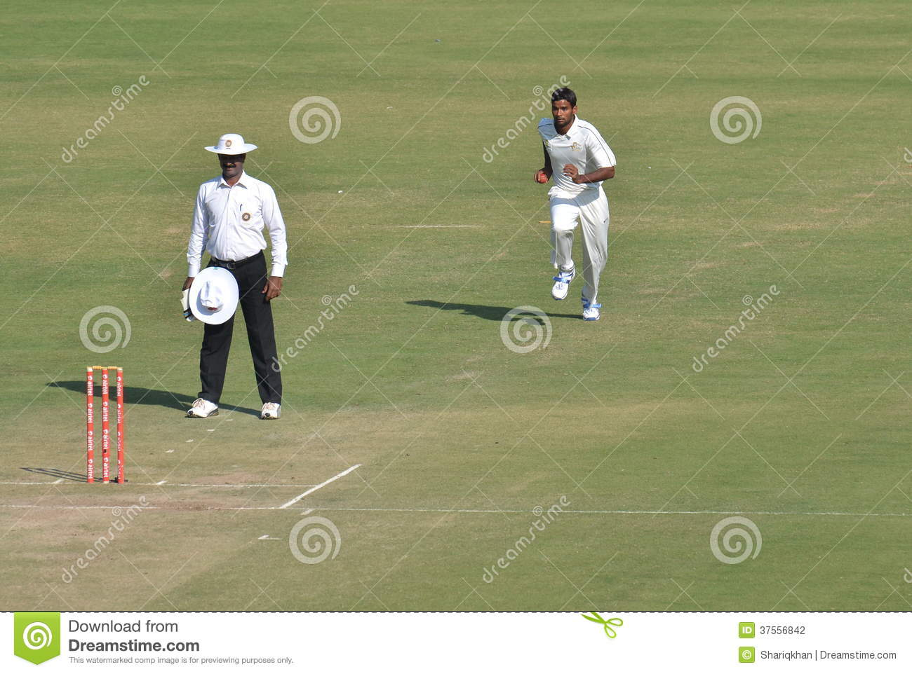 Fast Bowlers Runup In A Cricket Match Editorial Photography