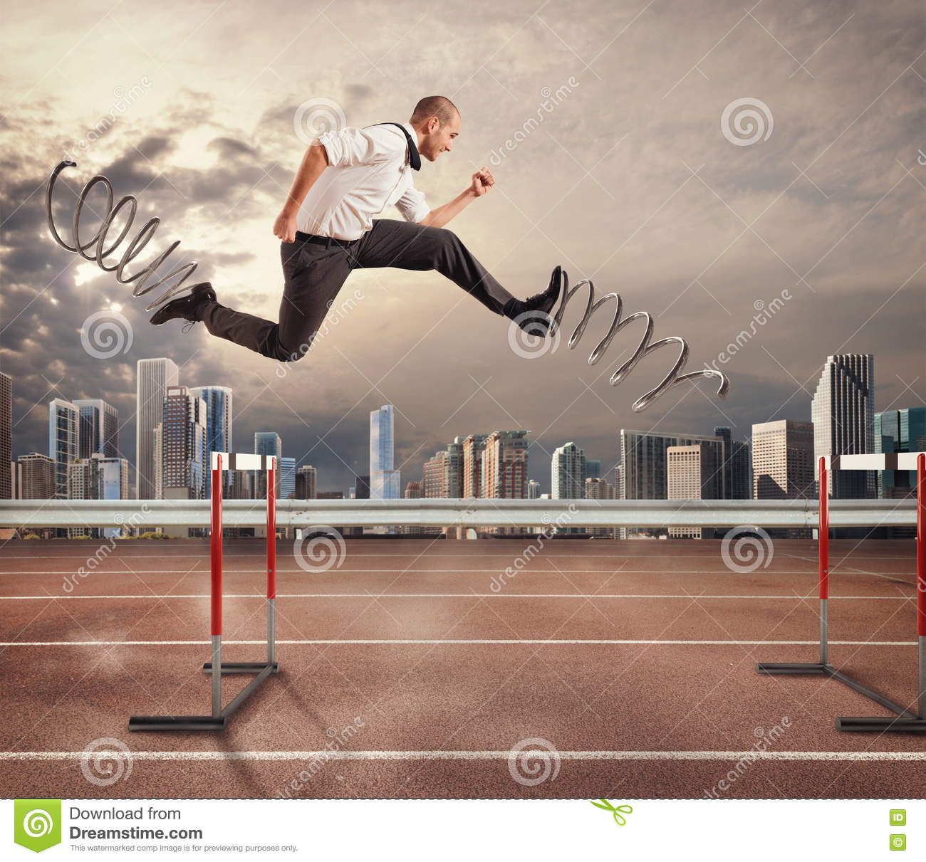 Fast businessman overcome and achieve success. 3D Rendering