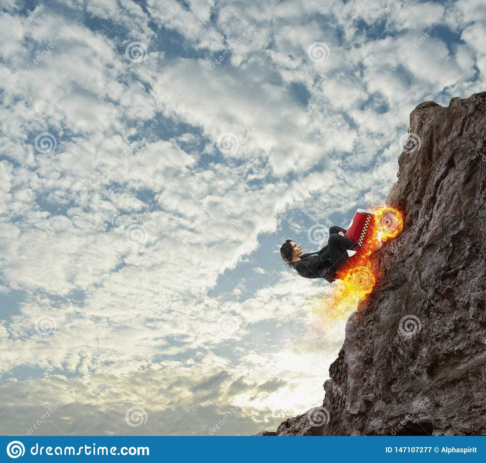 Fast businesswoman with a car climbs a mountain. Concept of success and competition.