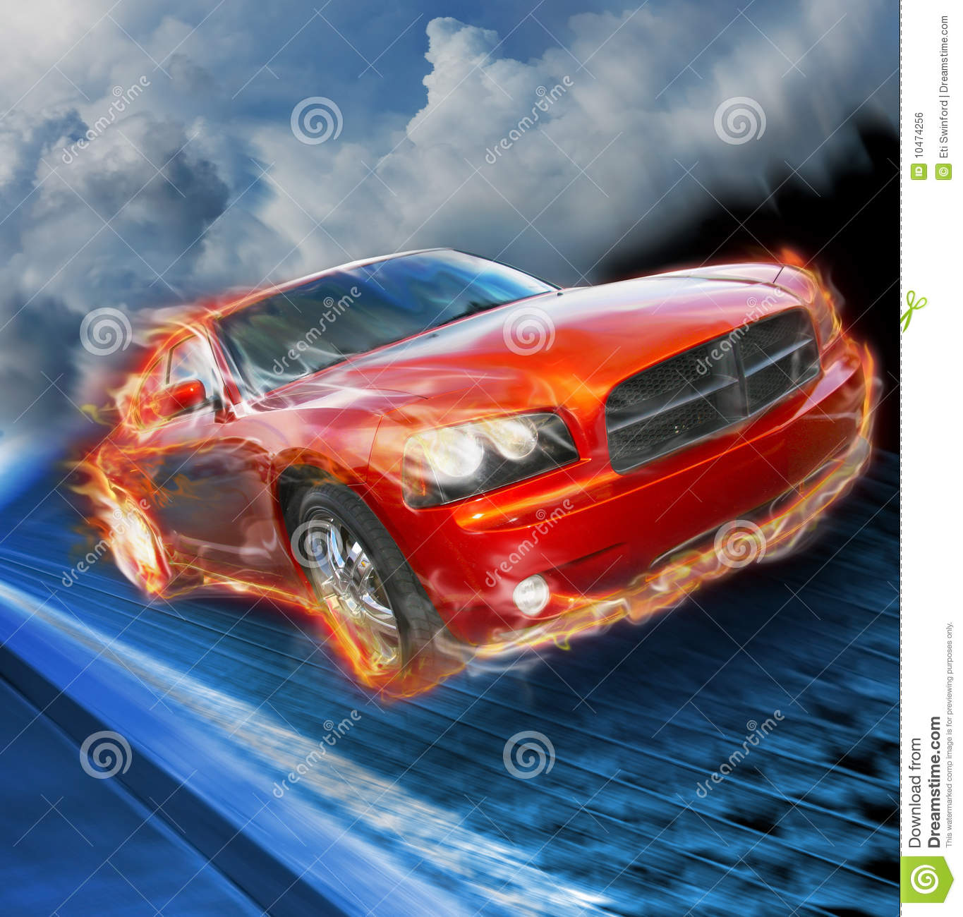 Fast Car Stock Photo. Image Of Dramatic, Flaming, Hemi