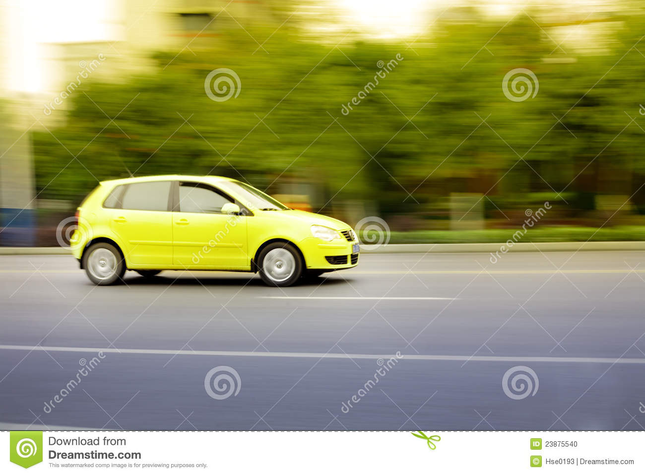 Fast car on road