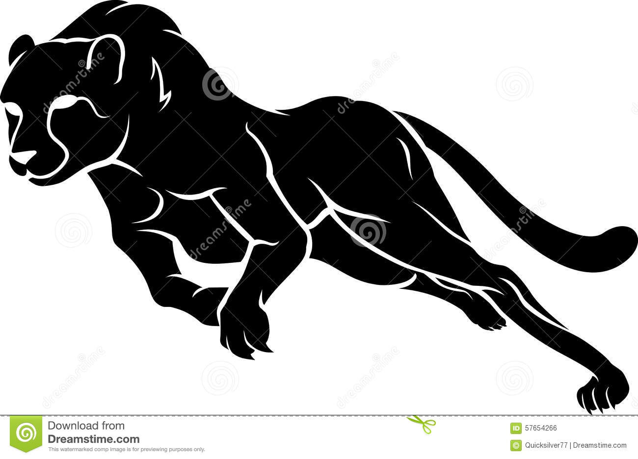 Fast Cheetah Run Silhouette Stock Vector - Image: 57654266