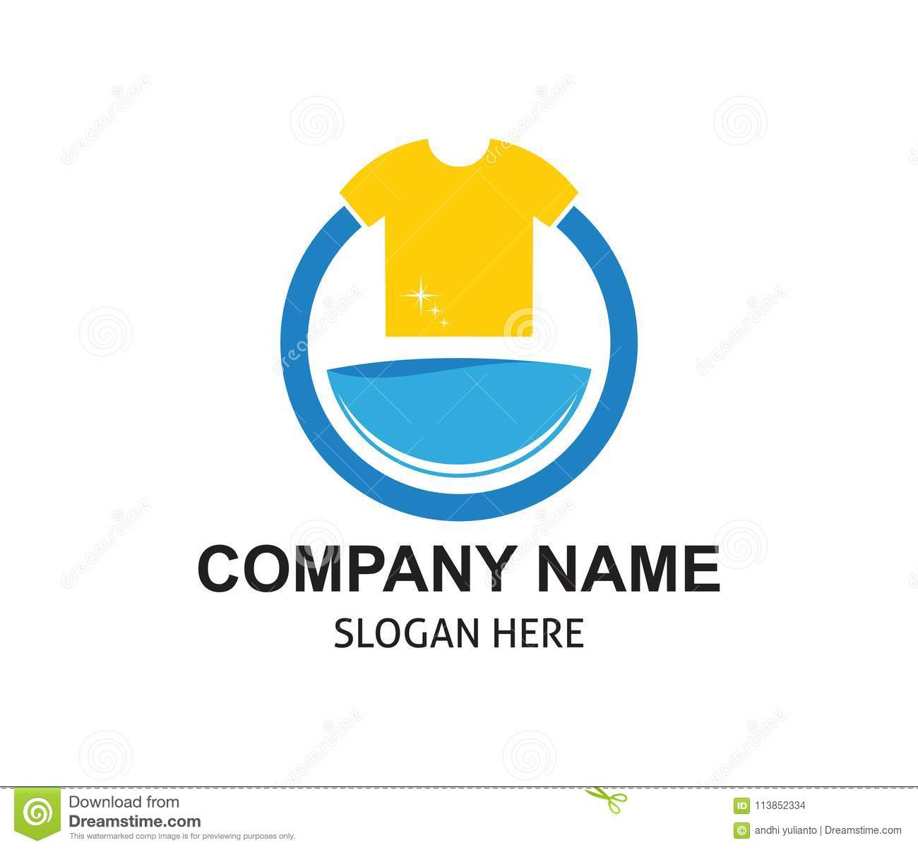 fast and clean laundry service logo design