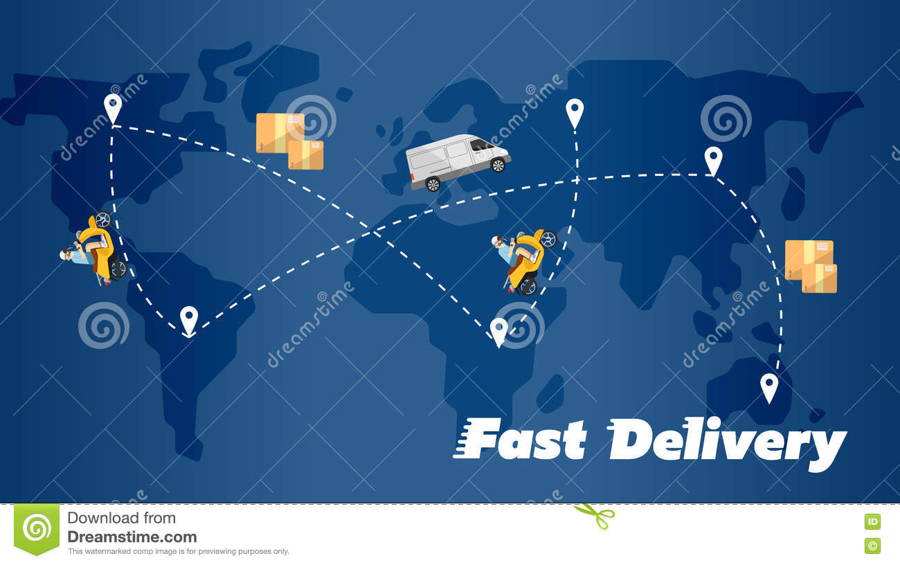 Concept Of Fast Delivery Of Goods. The Driver Of The Truck