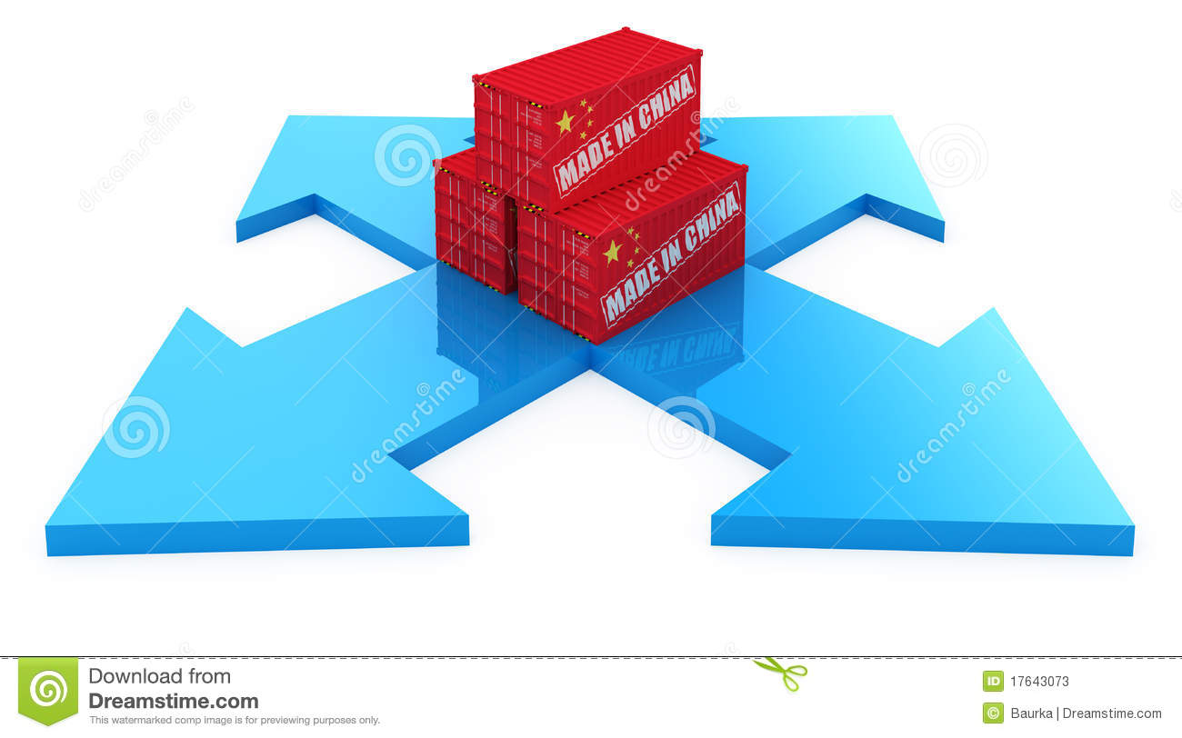 Fast delivery cargo containers from china 3d concept isolated on