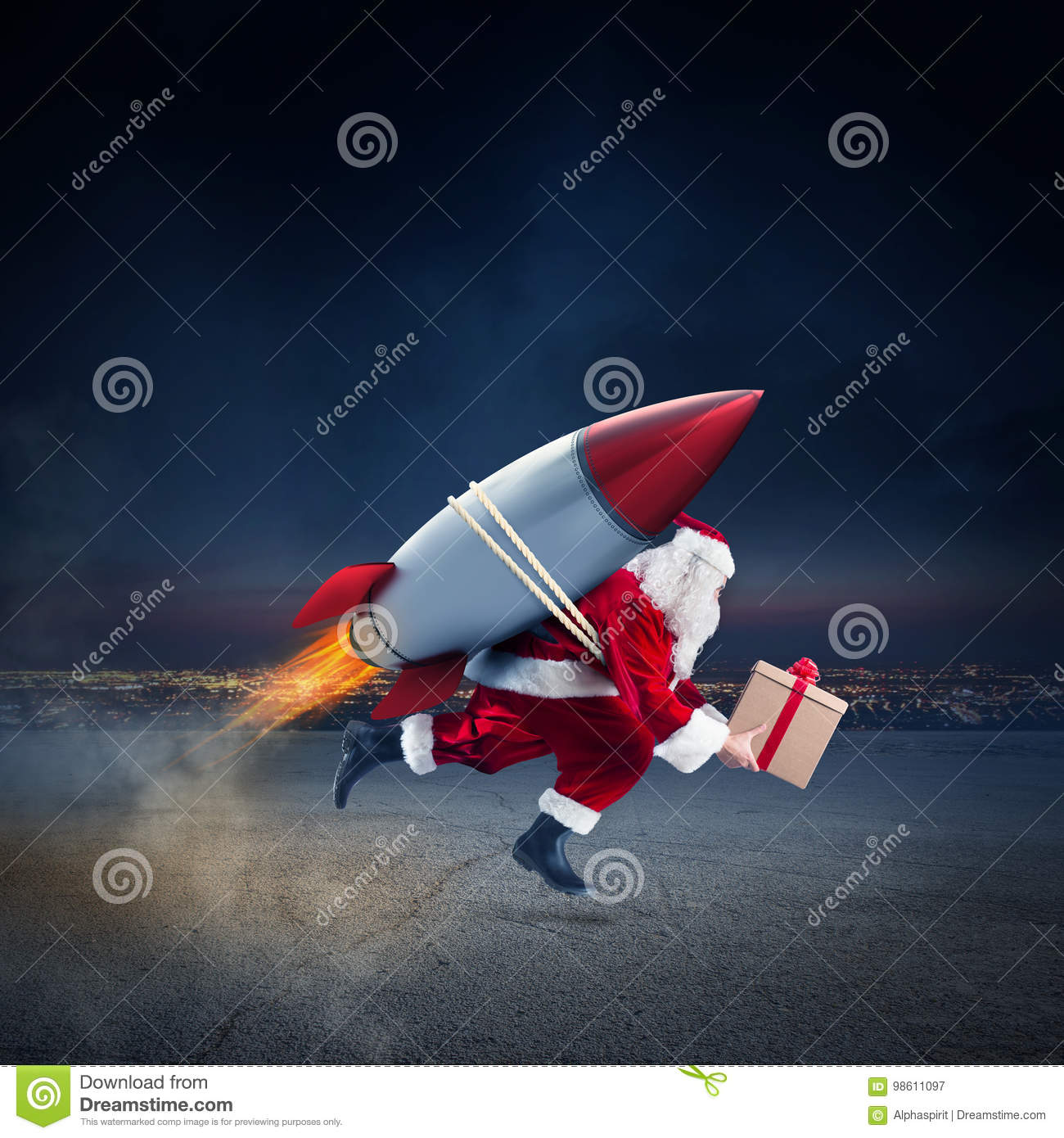 Fast Delivery Of Christmas Gifts Ready To Fly With A Rocket Stock ...