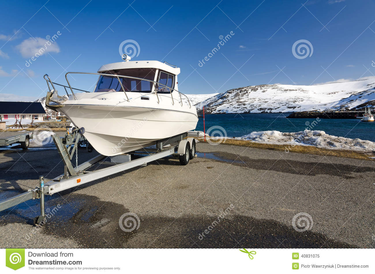 Fast fishing boat on a trailer stock image image 40831075 for Fast fishing boats