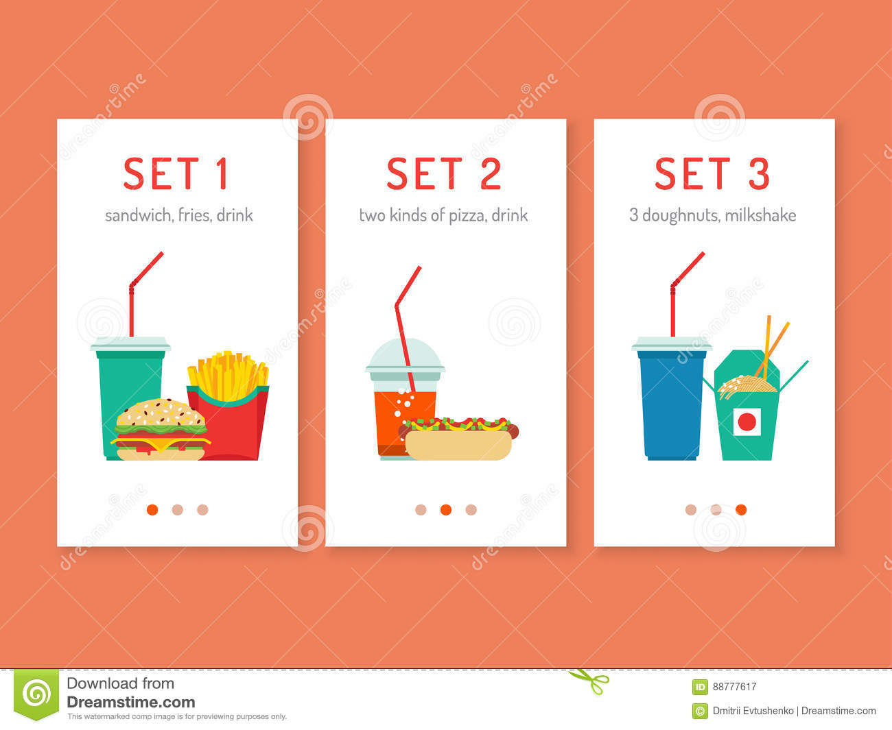 Fast food app stock vector  Illustration of fries, icon