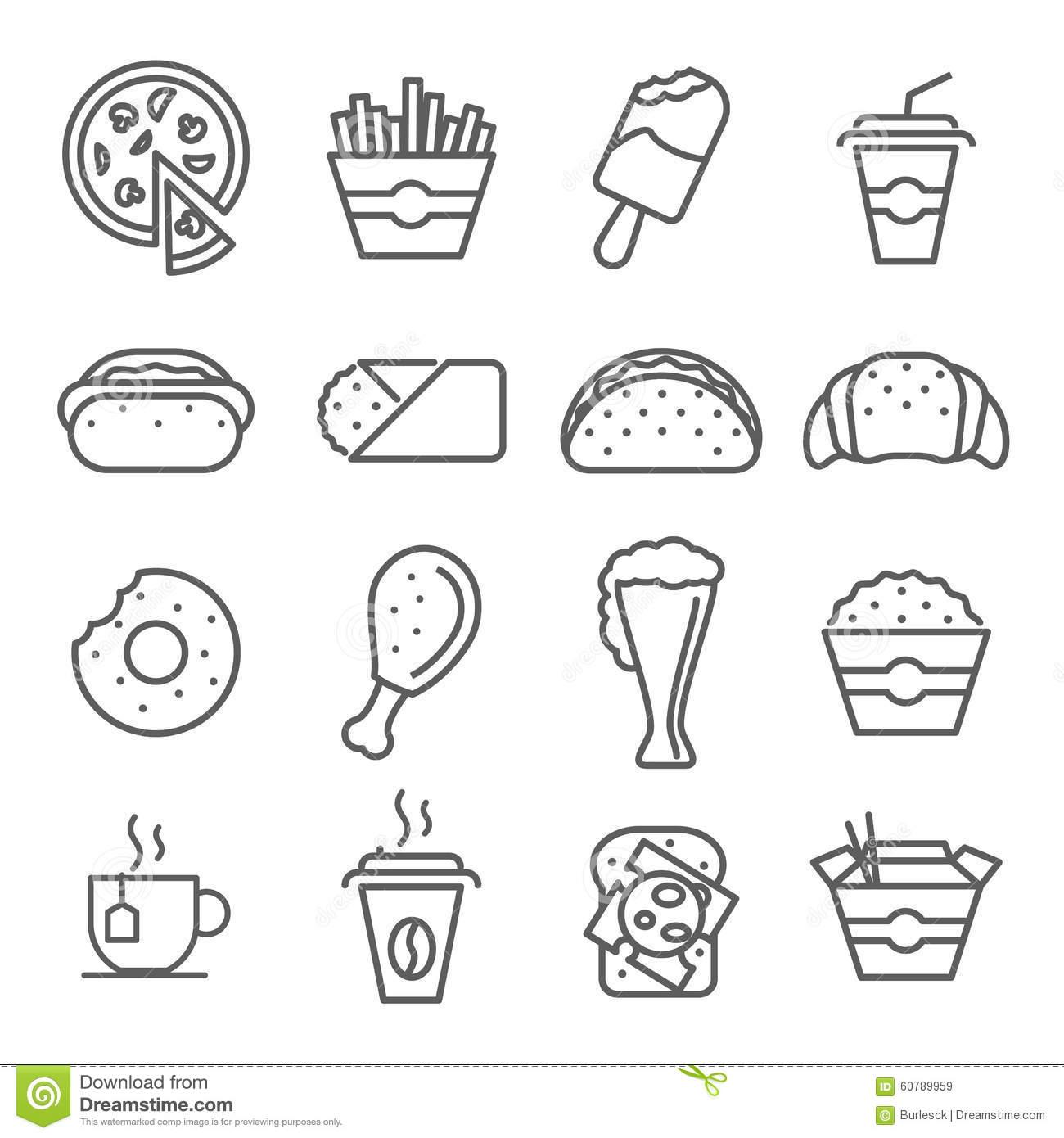 Line Art Food : Fast food art line icons stock vector image