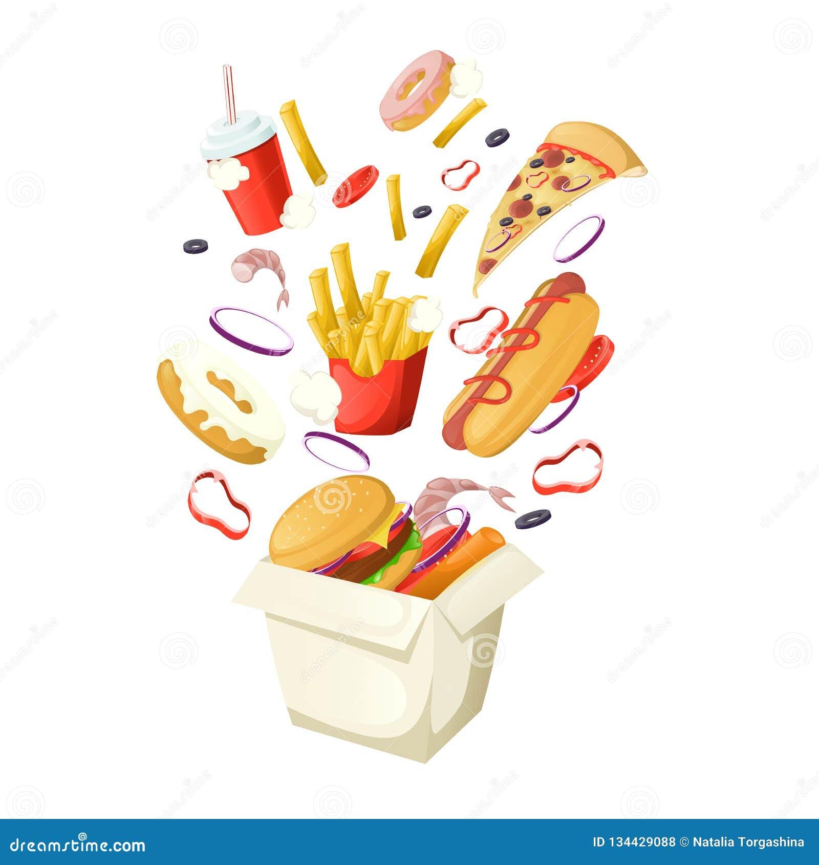 Fast Food Banner Template Design With Coke Hamburger Popcorn
