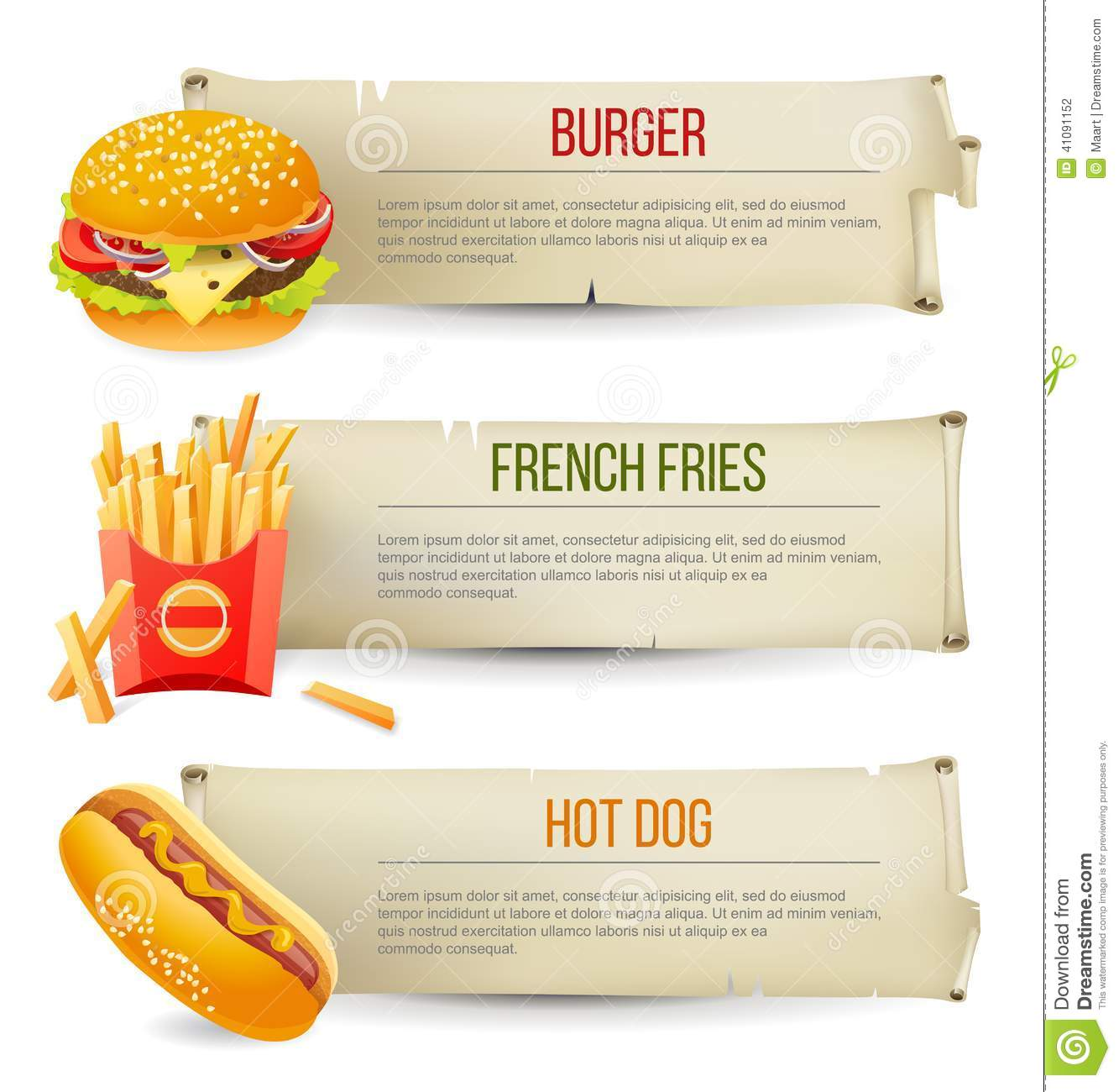 Fast Food Banners Stock Vector Image