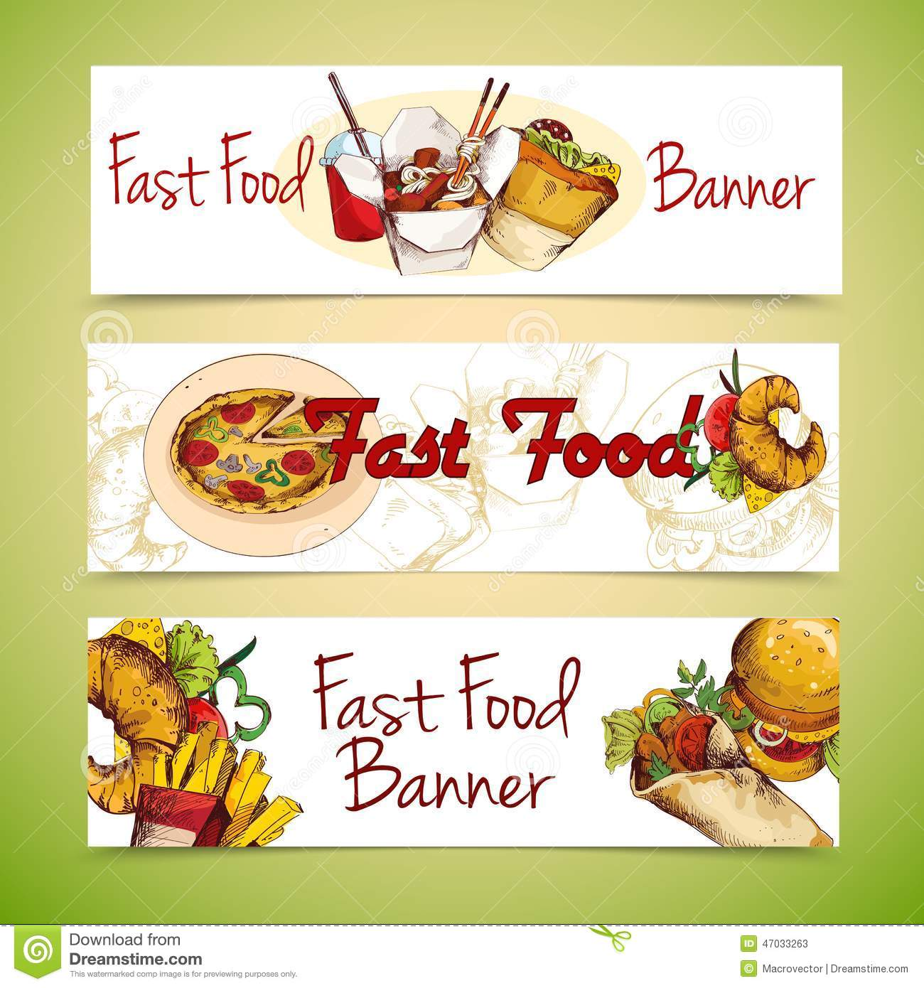 Fast food sketch horizontal banners set with french fries chicken ...