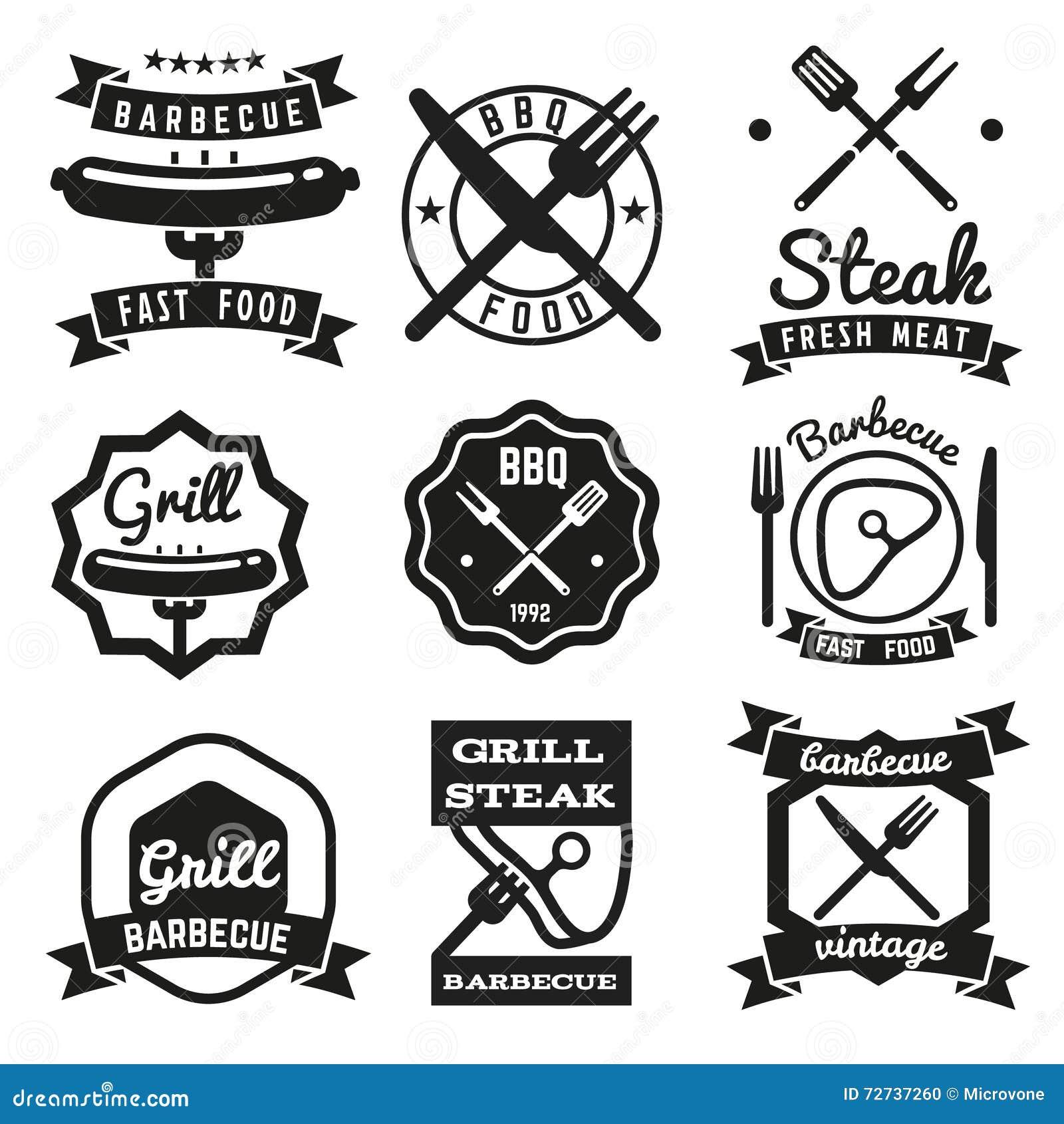 Fast food, BBQ, grilla rocznika wektoru emblematy