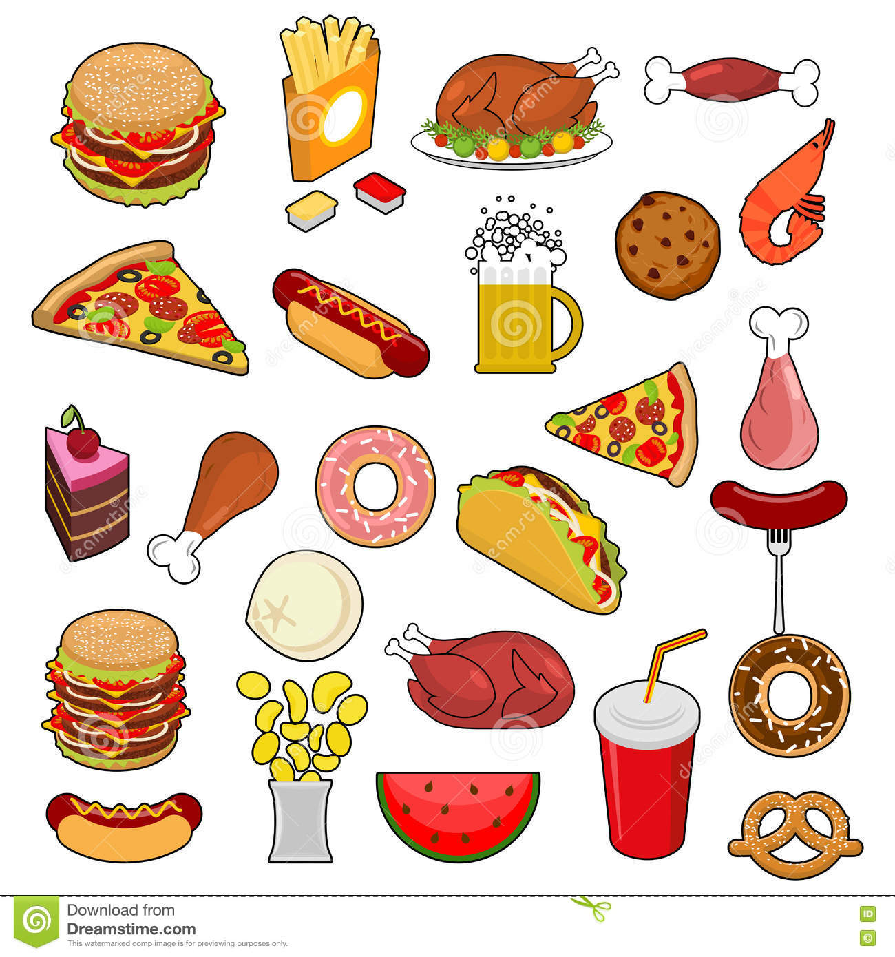 collection of delicious fast food cartoon vector