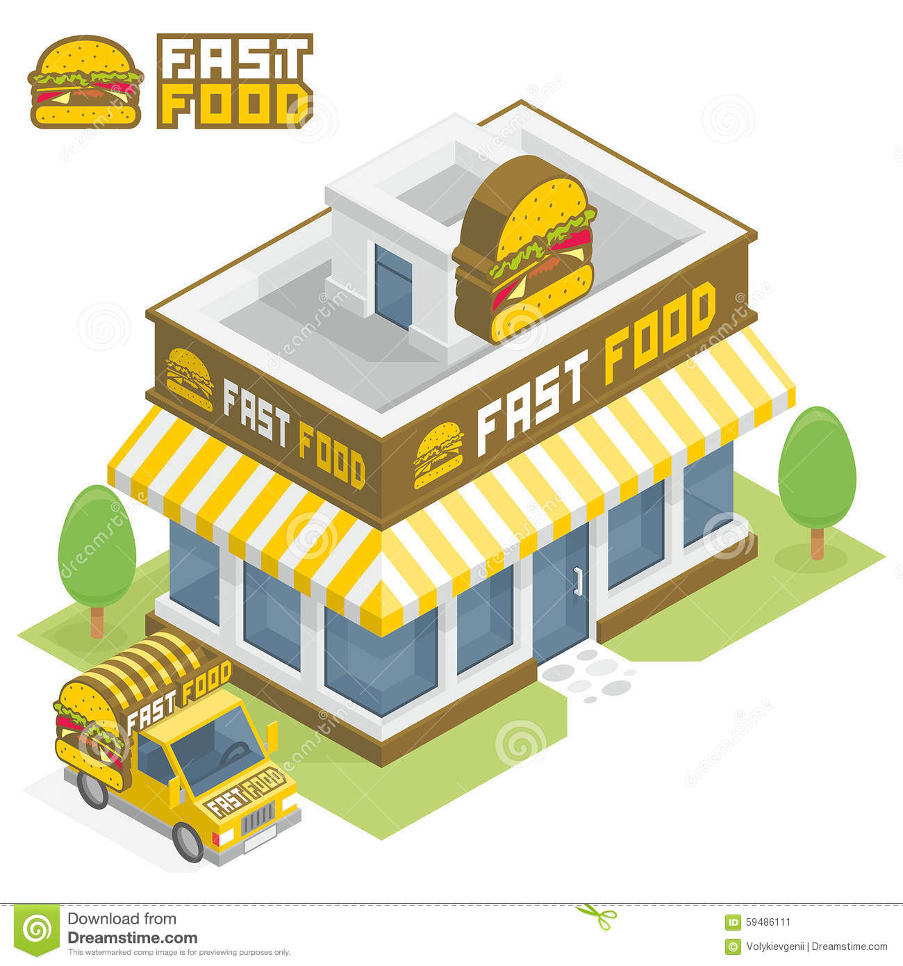 Fast Food Building Stock Vector Image 59486111
