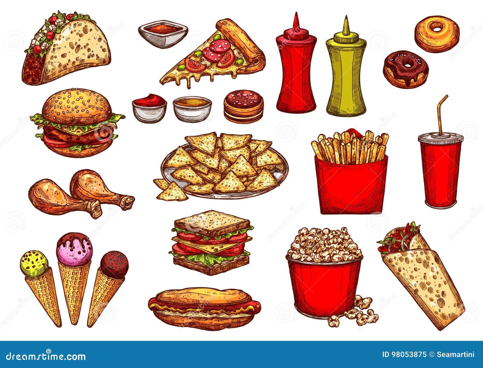 Fast Food Burger Drink And Dessert Sketch Set Stock Vector