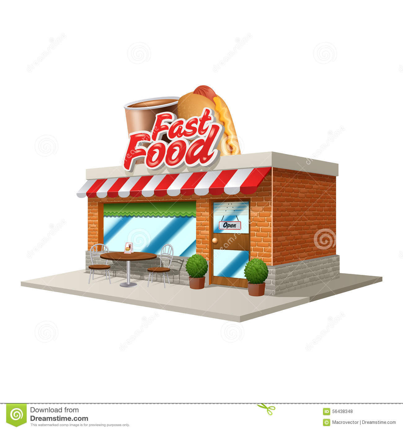 Fast Food Cafe Stock Vector Illustration Of Object Meal