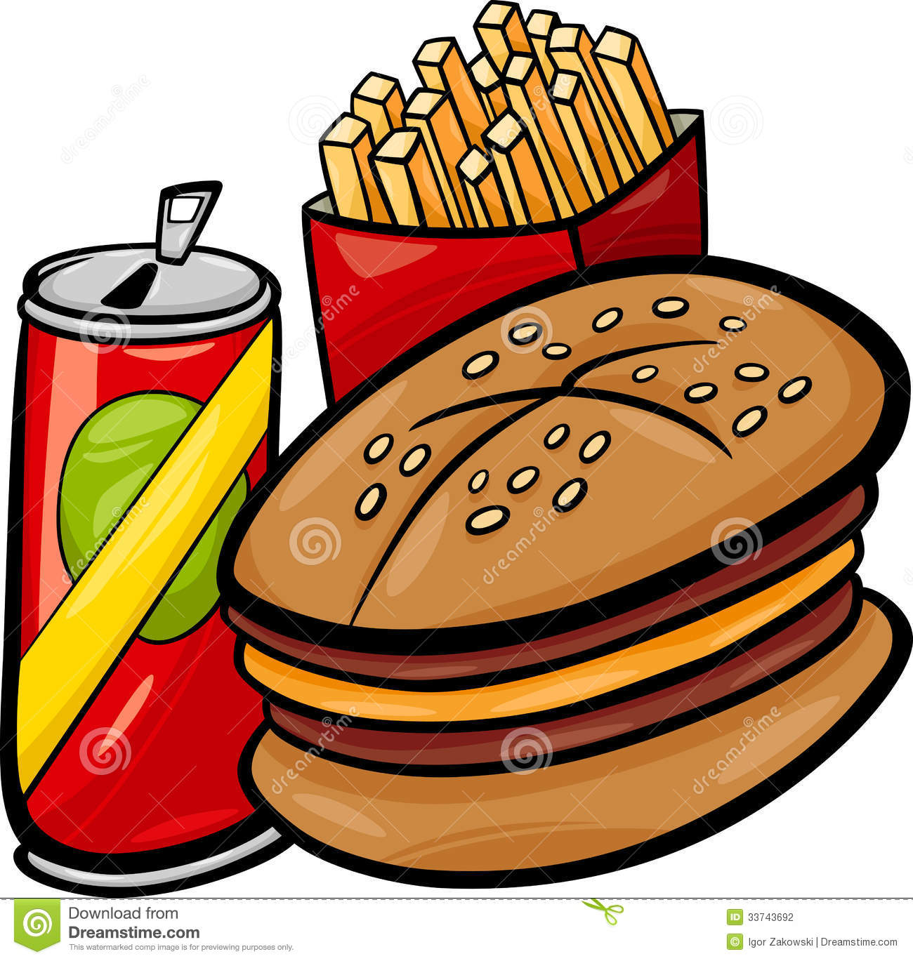 Fast Food Cartoon Clip Art Stock Vector Illustration Of