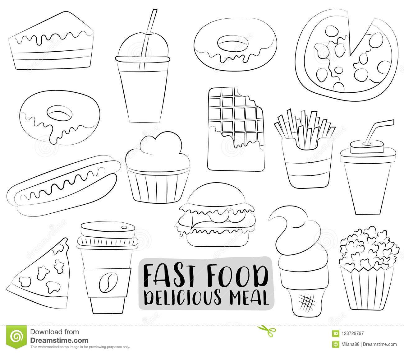 Fast Food Cartoon Icons And Objects Set Black And White Coloring