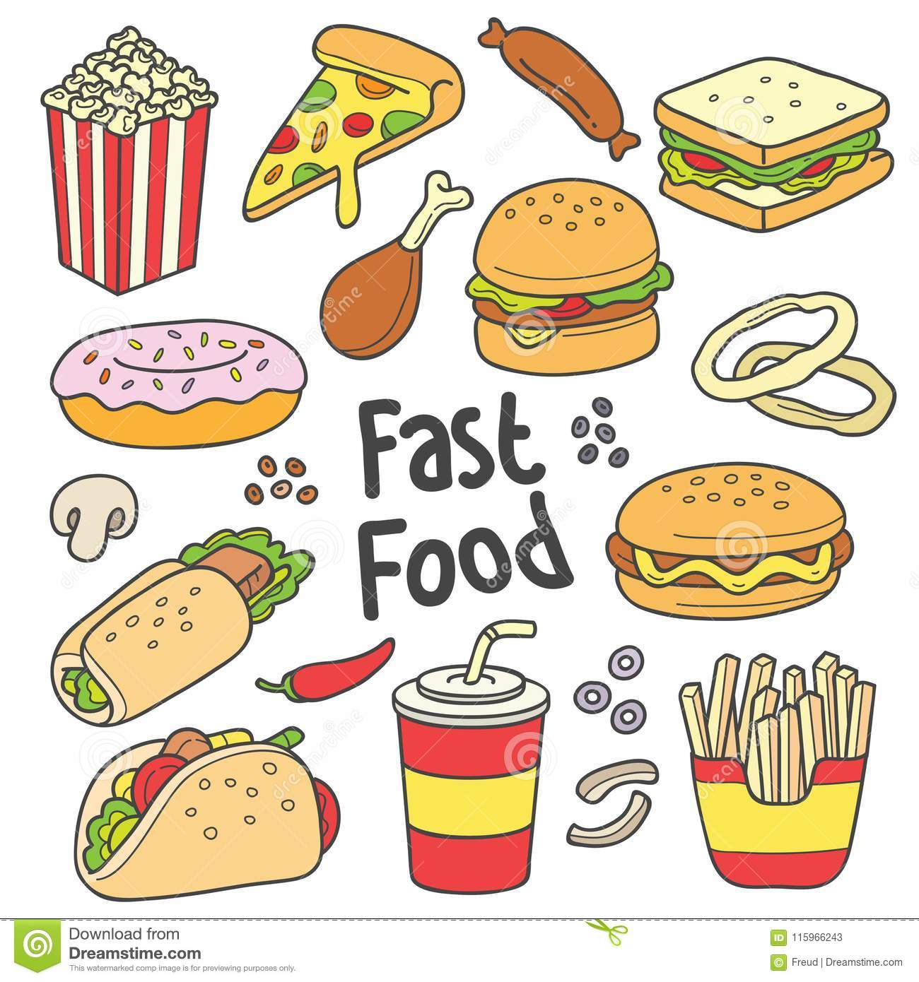 Fast Food Hand Drawn Drawing Stock Vector