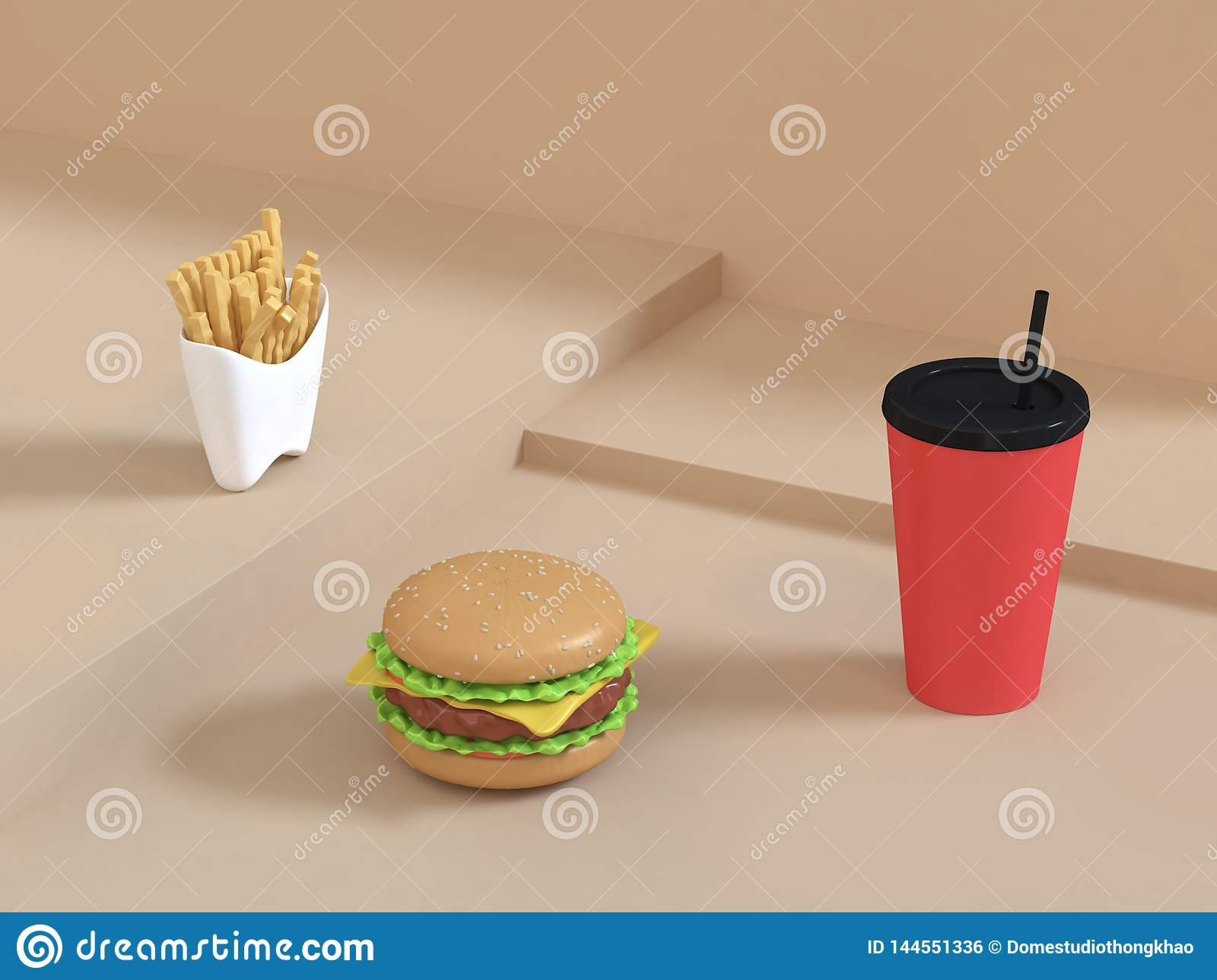 Fast food cartoon style hamburger set on abstract cream scene with red cup french fries 3d rendering