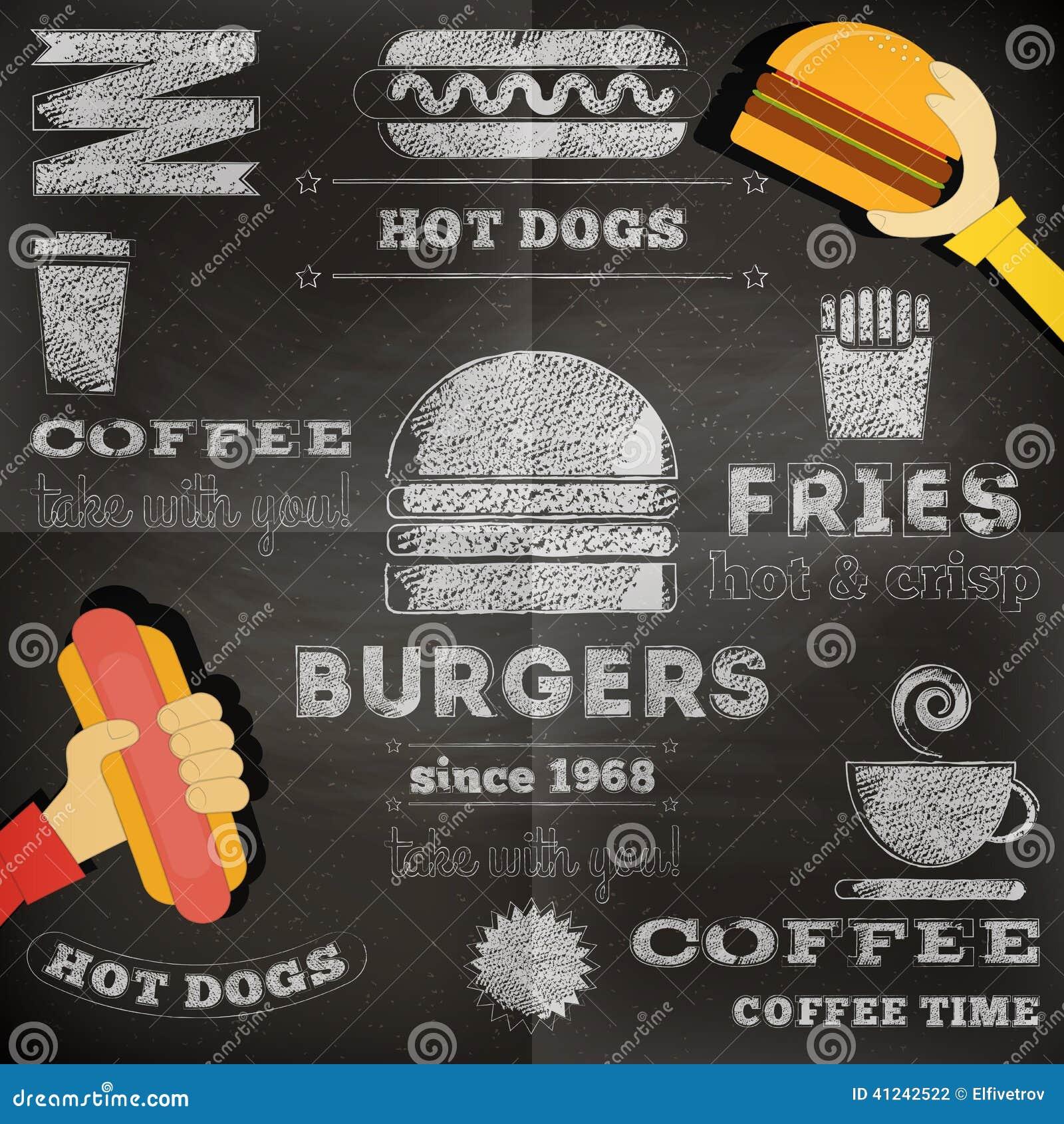 Fast Food Chalkboard Stock Vector Image 41242522