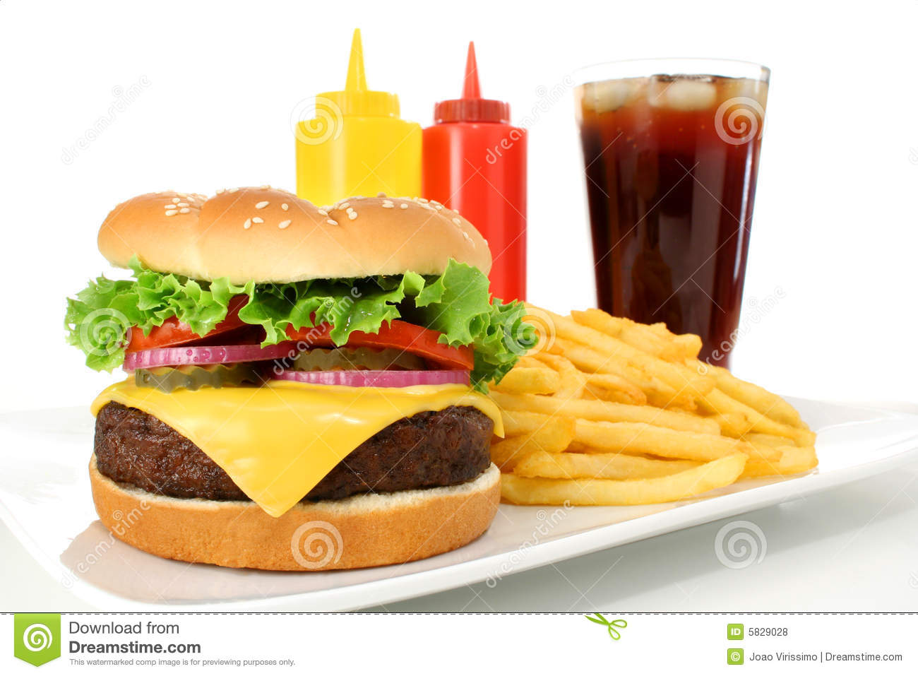 fast food meal including a cheeseburger hamburger, french fries and