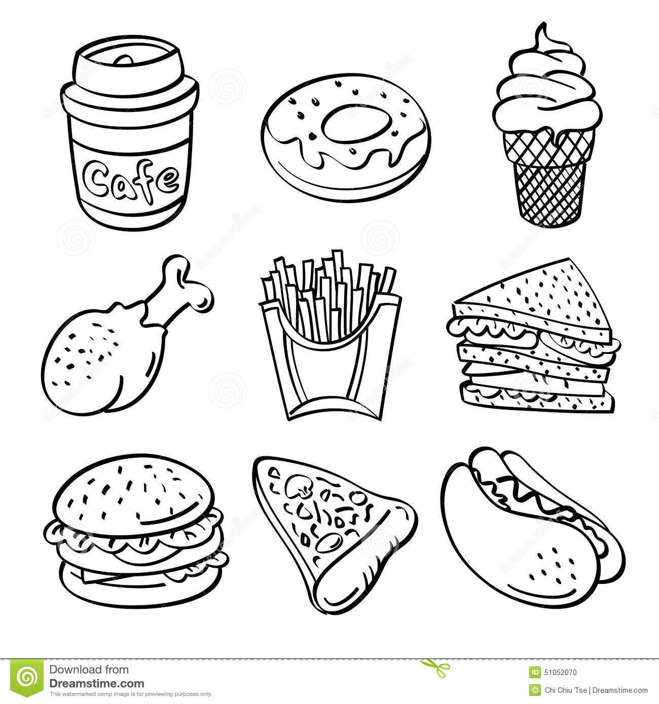 fast food collection sketch style contains hi res jpg pdf illustrator files 51052070