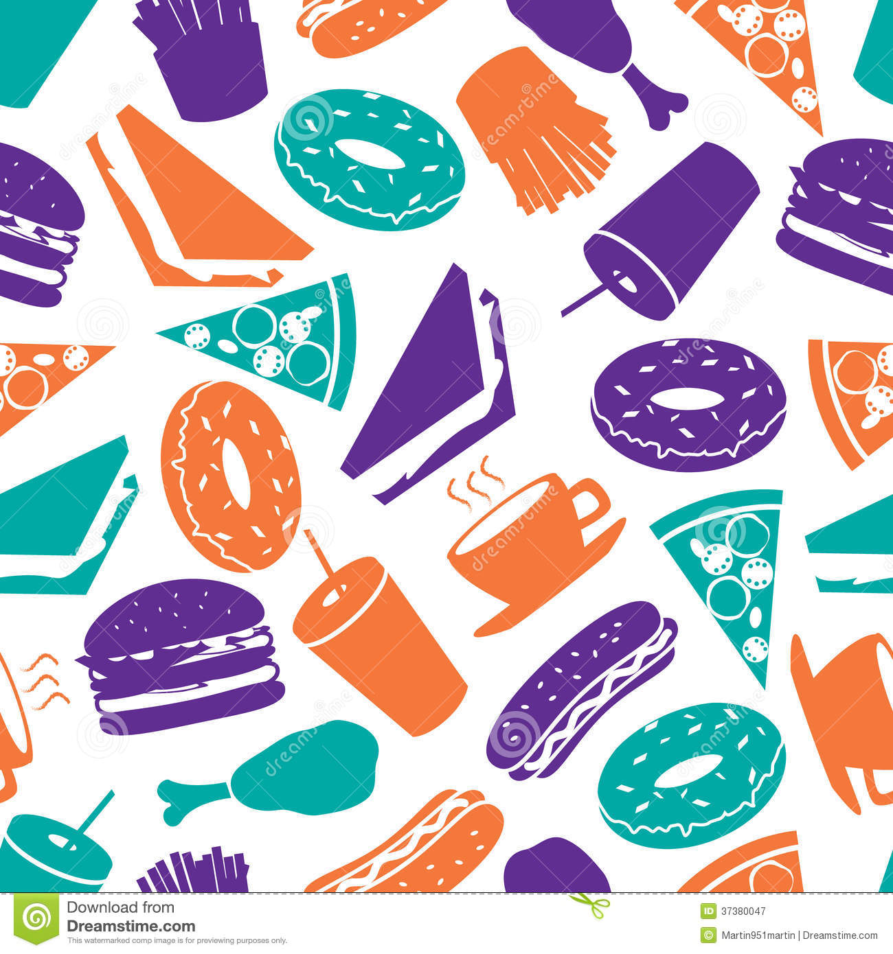 Fast Food Color Pattern Eps10 Royalty Free Stock ...