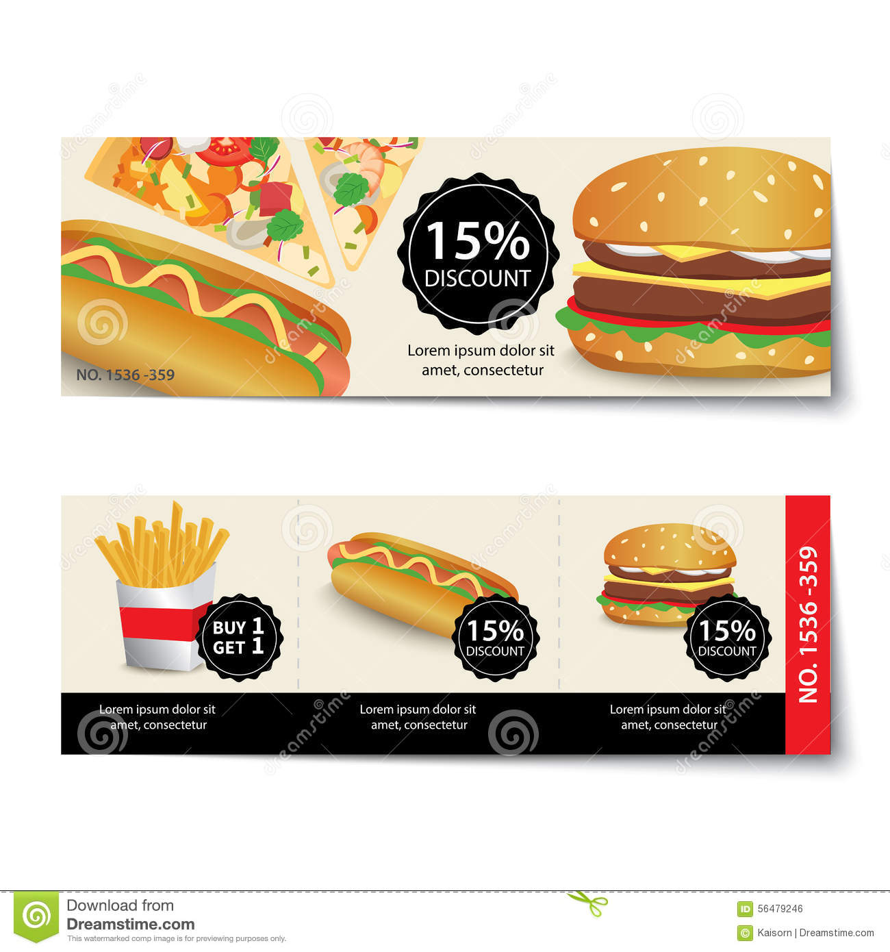 fast food coupon discount template design stock vector image 56479246. Black Bedroom Furniture Sets. Home Design Ideas