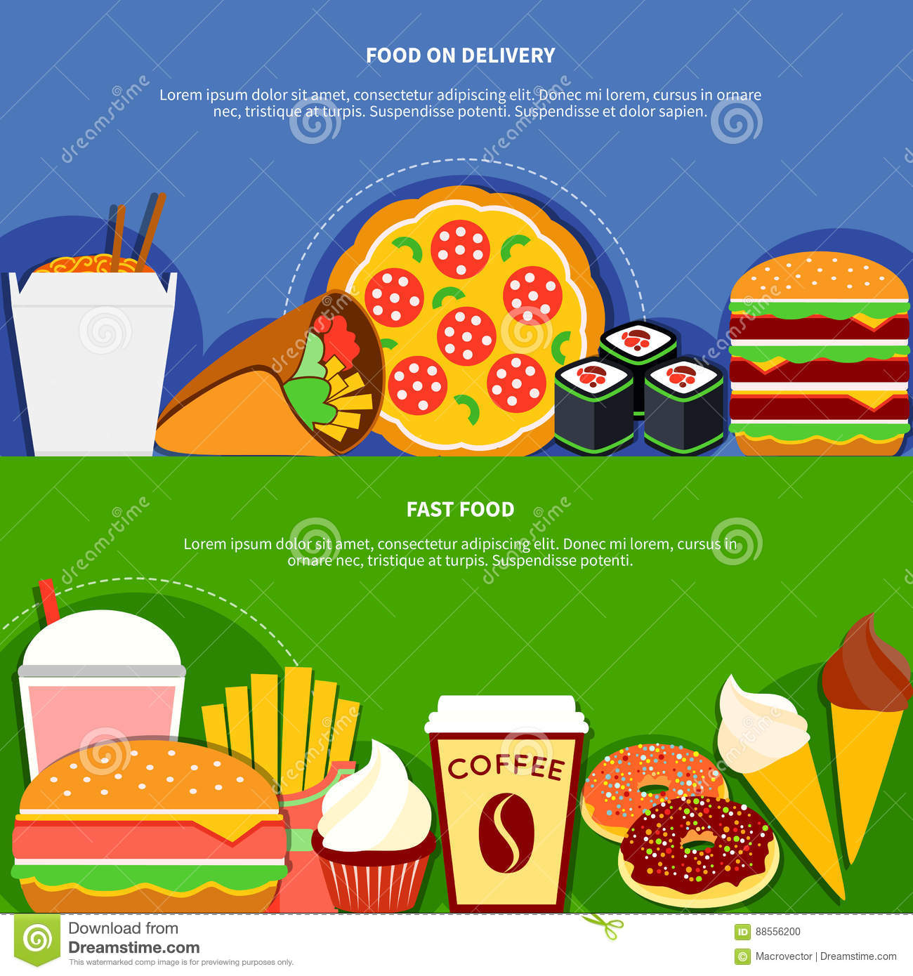 Fast Food Delivery Service Flat Banners Stock Vector ...