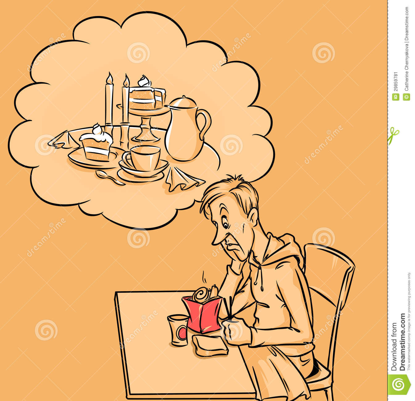 Fast Food Dream And Good Food Stock Illustration