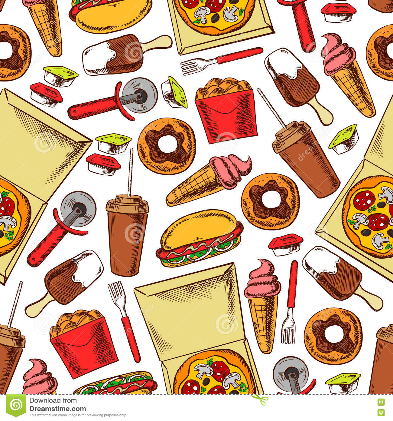 Seamless Wallpaper Pattern With Ice Cream Icons Stock: Fast Food, Drinks, Desserts. Seamless Background Stock