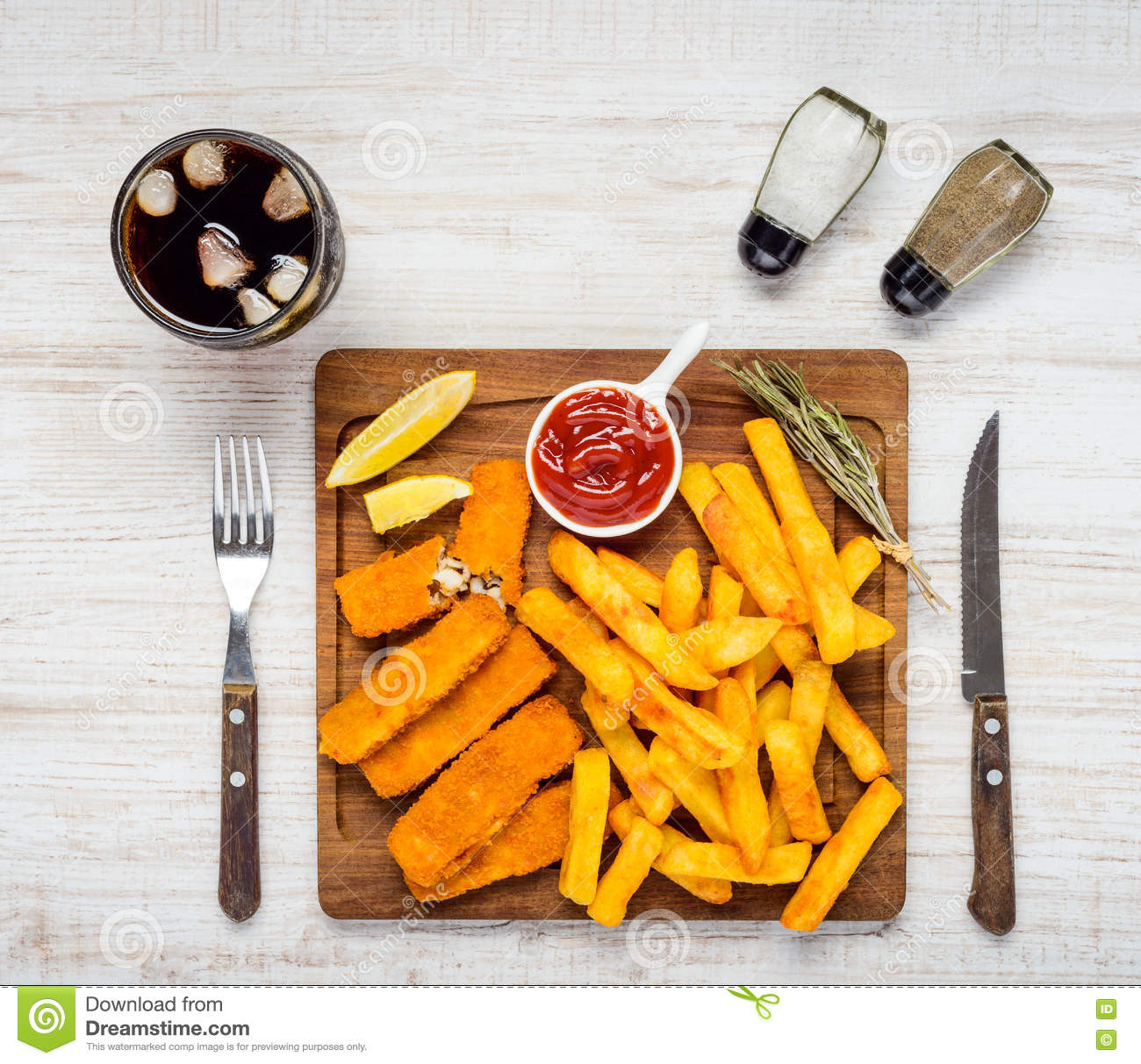 Fast food fish fingers cola and french fries stock photo for Fast food fish