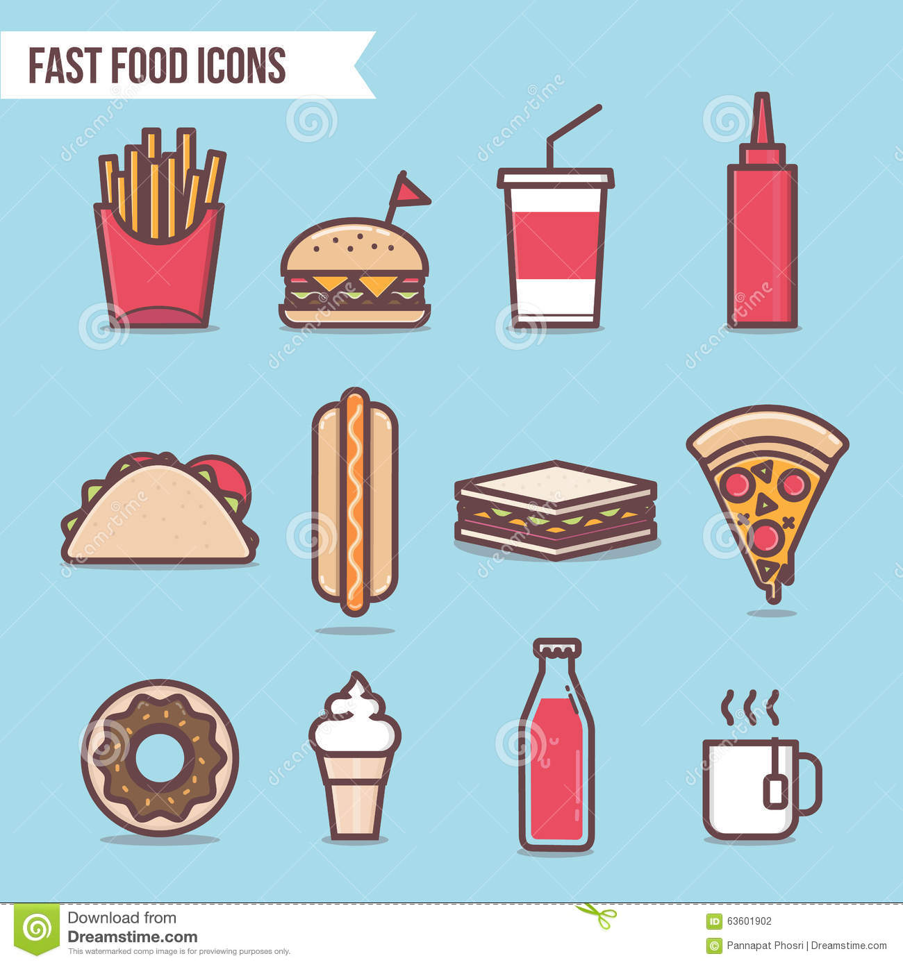Fast Food Flat Design Elements And Icons Set Vector Pizza
