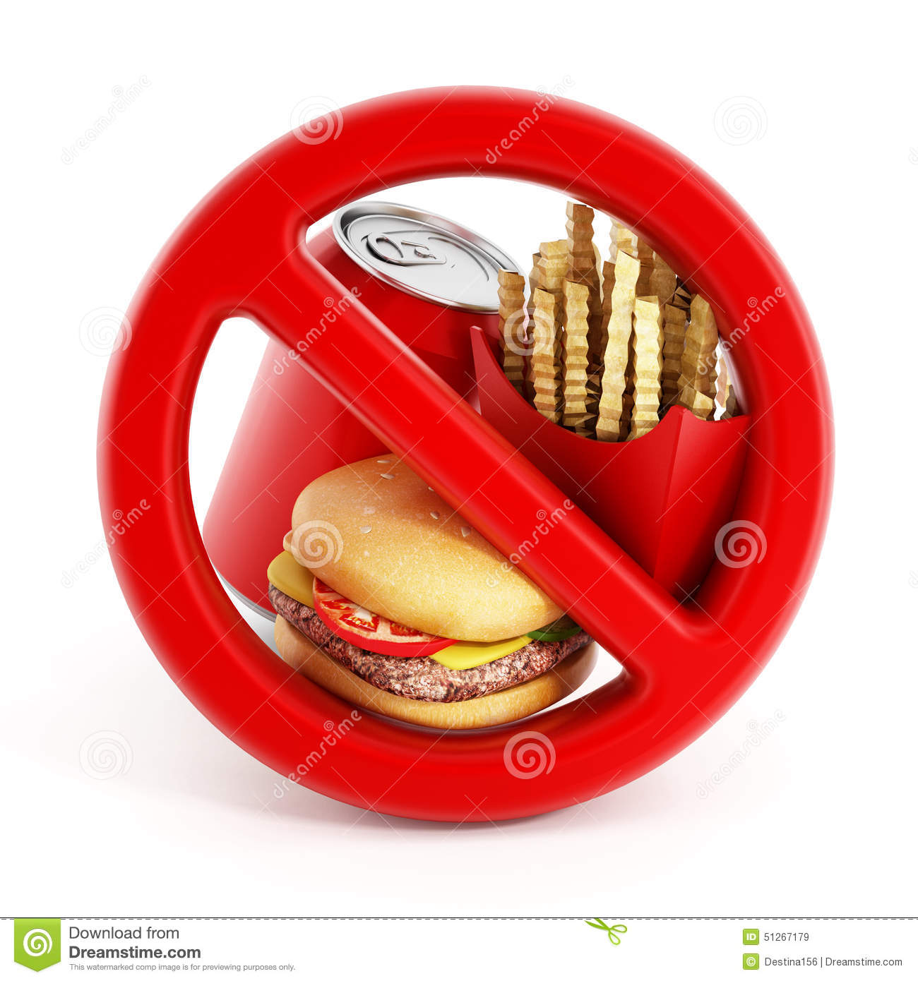 Fast Food And Forbidden Sign Stock Illustration - Image ...