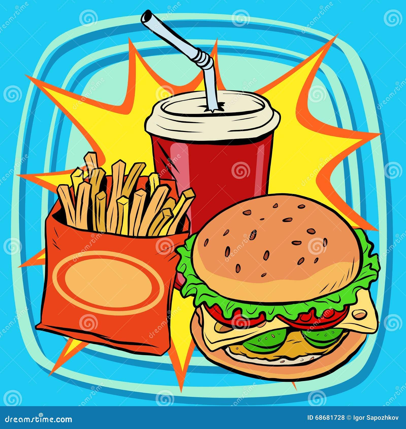 food drink fast burger fries pop cola retro street restaurant vector preview