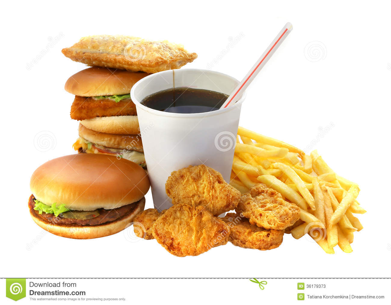 Stock Photos Fast Food Group Drink Burger White Background Image361793...