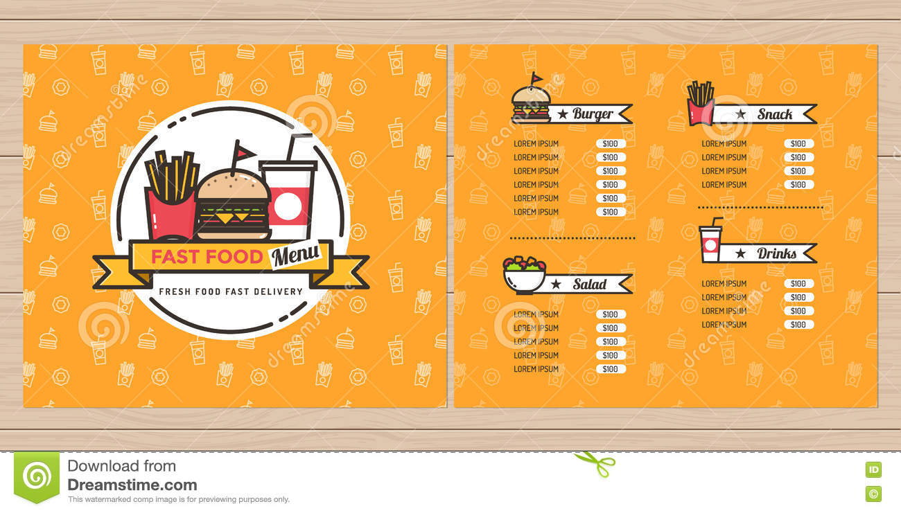 Fast food hamburger french fries menu design brochure