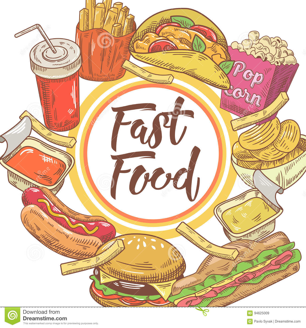 Fast Food Hand Drawn Design with Sandwich, Fries and Burger. Unhealthy Eating