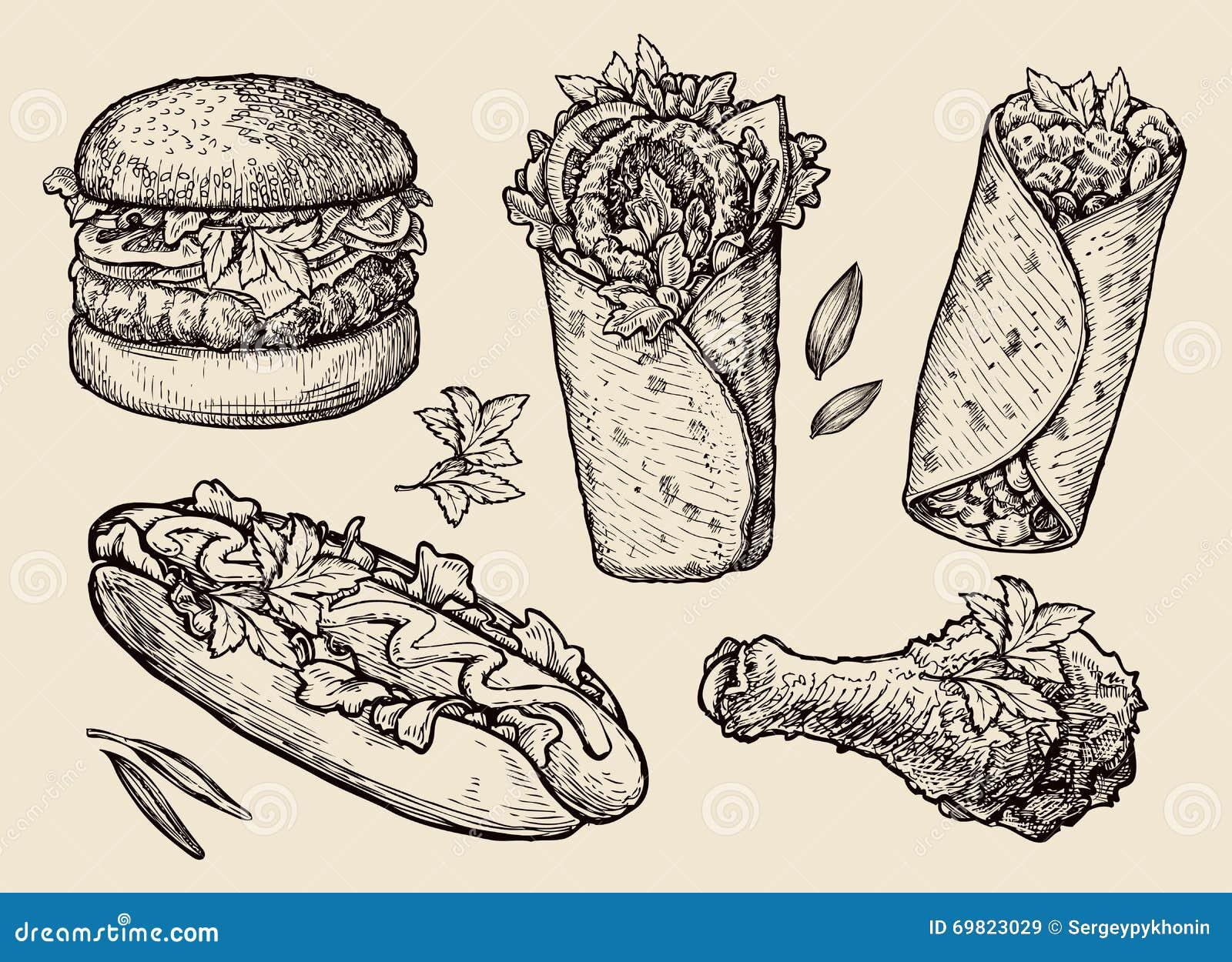 Fast Food. Hand Drawn ...