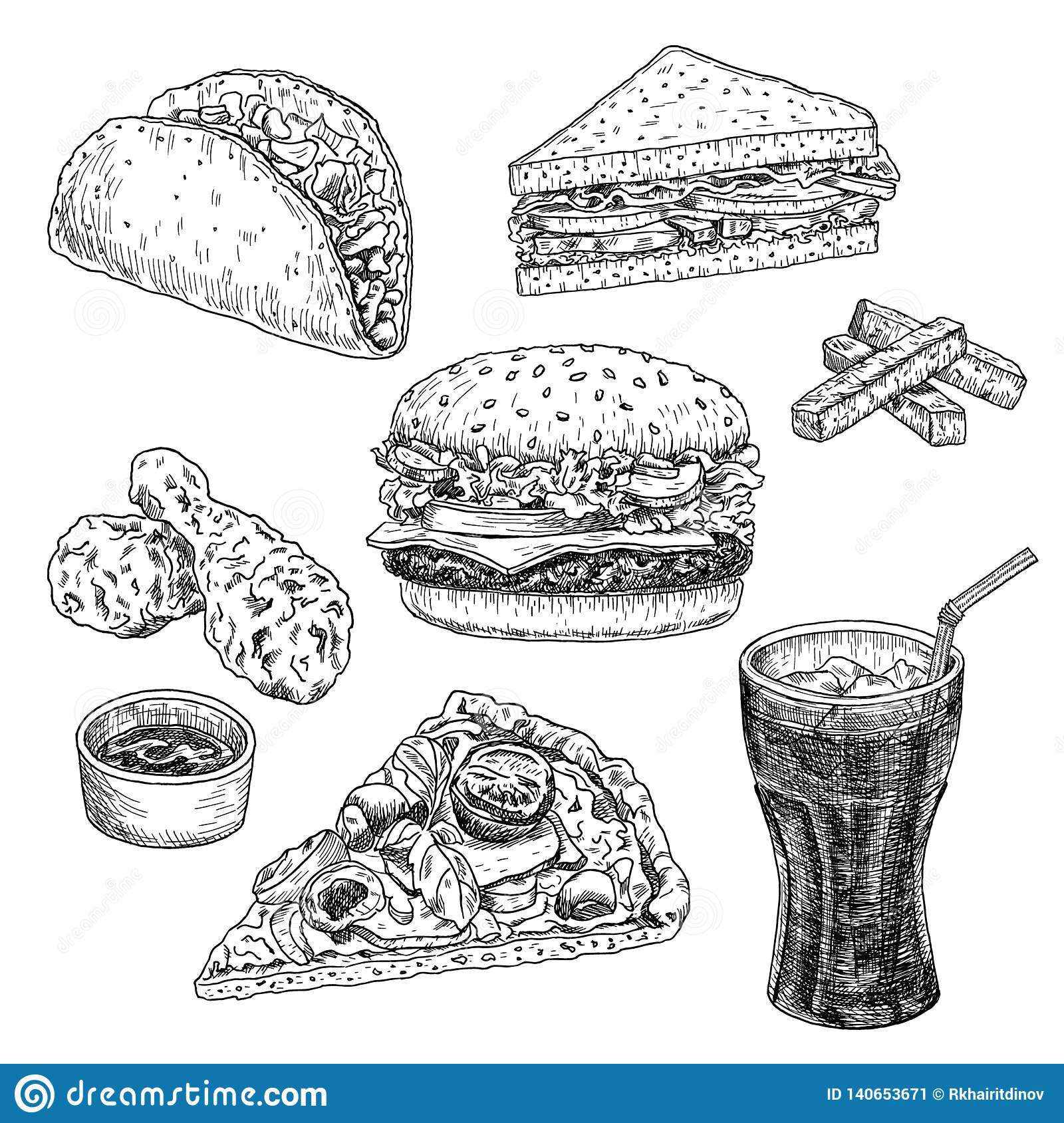 Fast food hand drawn vector illustration. Hamburger, cheeseburger, sandwich, pizza, chicken, taco and cola, engraved style, sketch